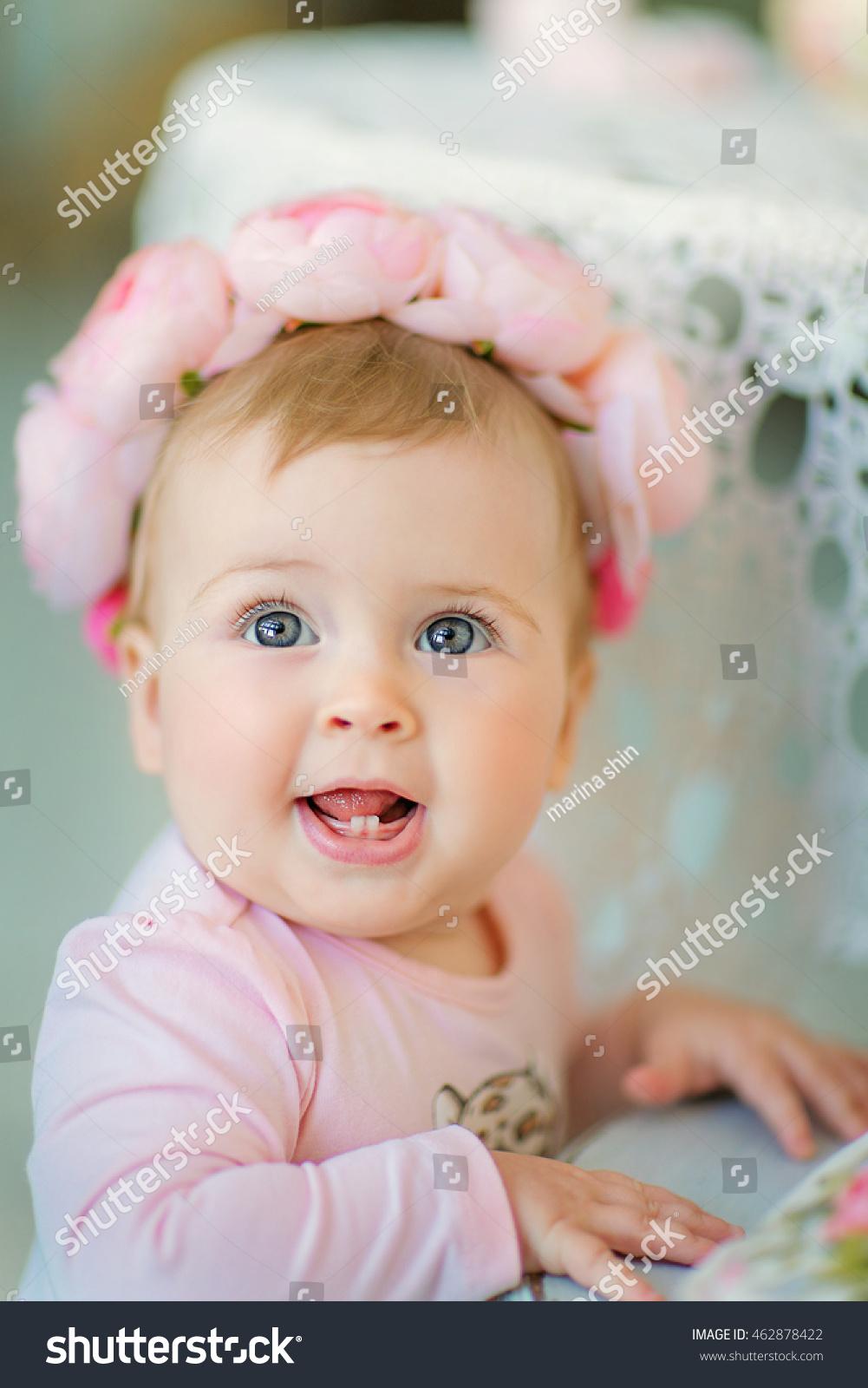 image sweet baby girl wreath pink stock photo (royalty free