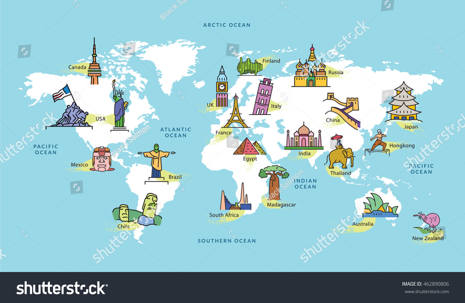 World map famous country landmark symbol vectores en stock 462890806 world map with famous country landmark symbol gumiabroncs Gallery