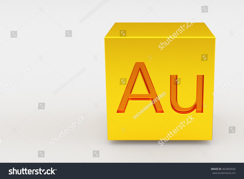 Gold Cube Au Mark 3 D Illustration Stock Illustration 462893026