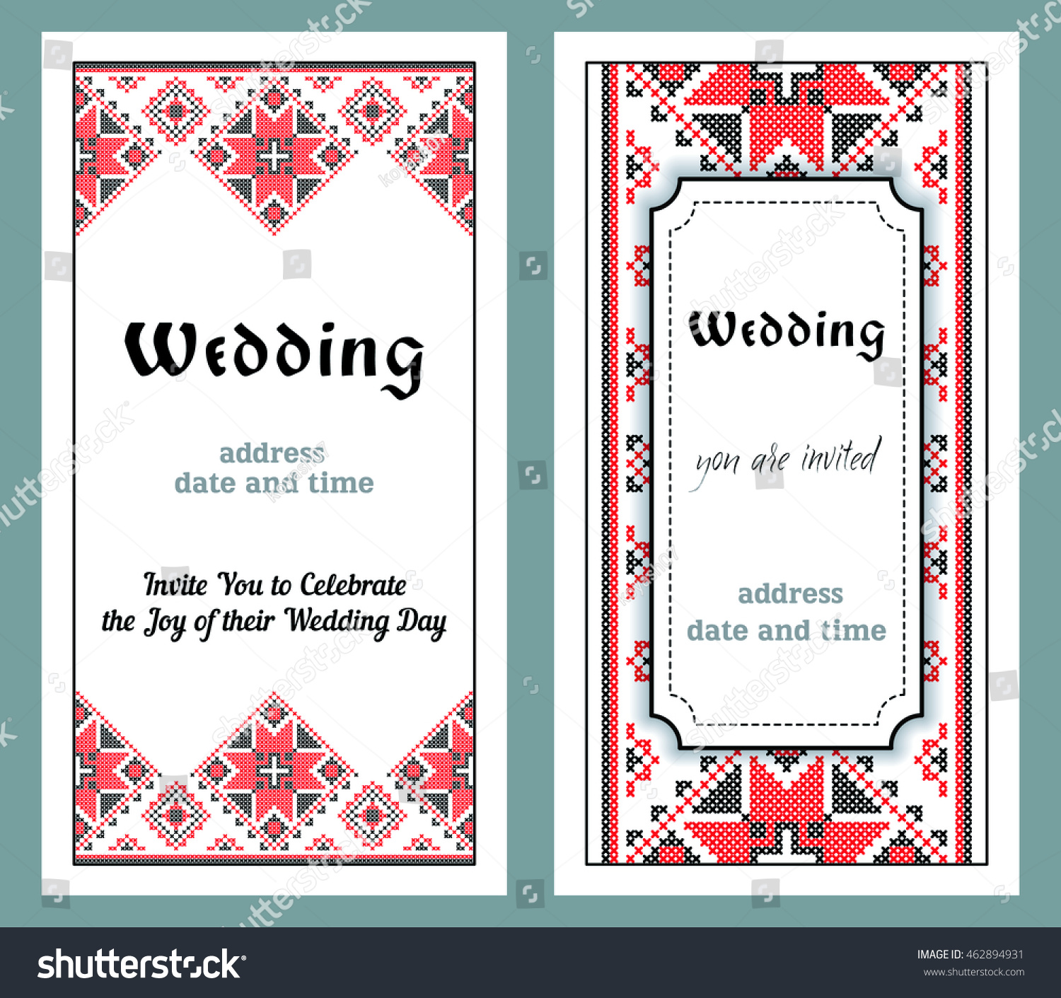 Wedding Invitations Traditional Ukrainian Style Embroidery Stock ...