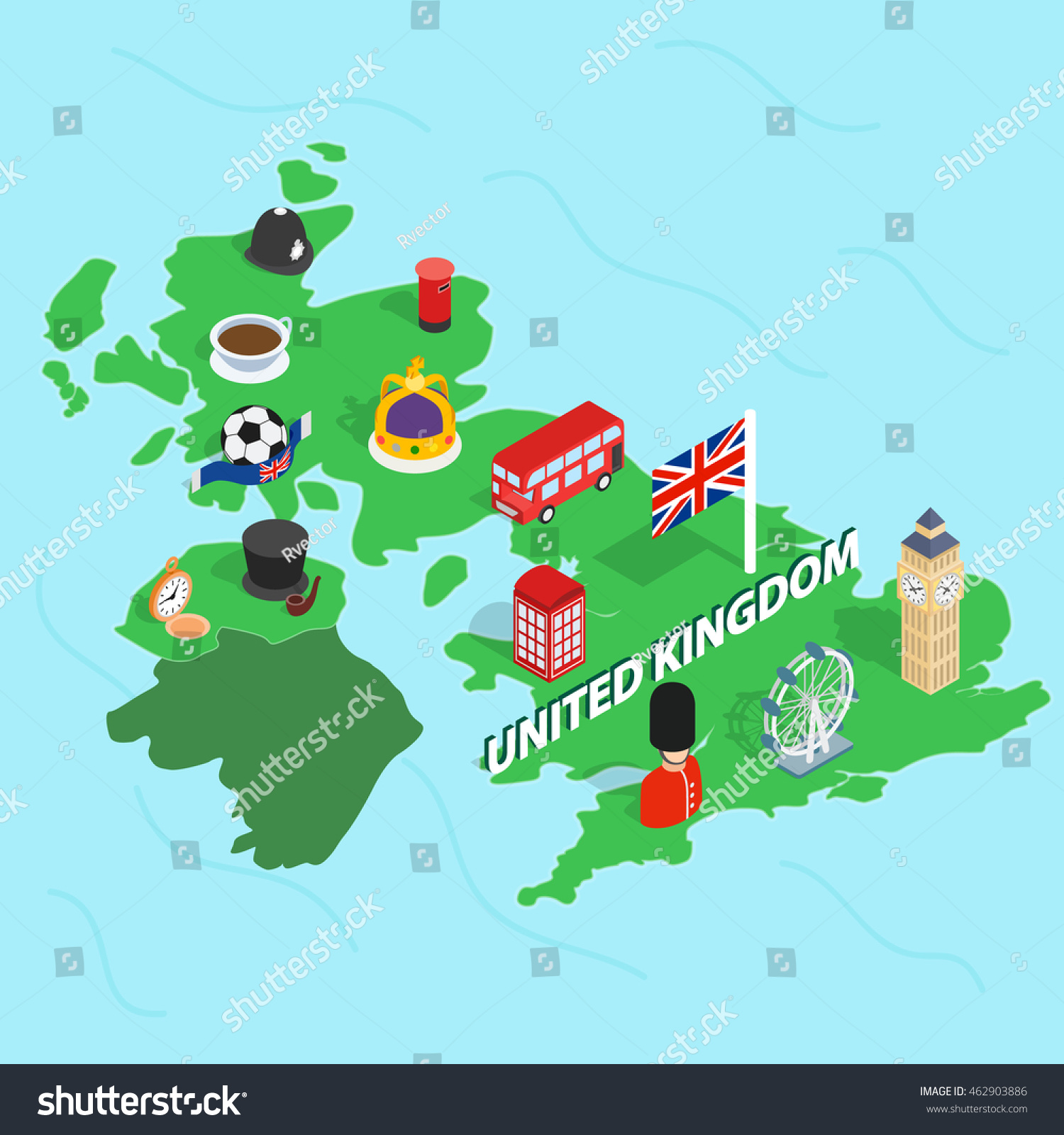 United kingdom map isometric 3d style stock vector 462903886 united kingdom map in isometric 3d style symbols of the uk set collection vector illustration biocorpaavc