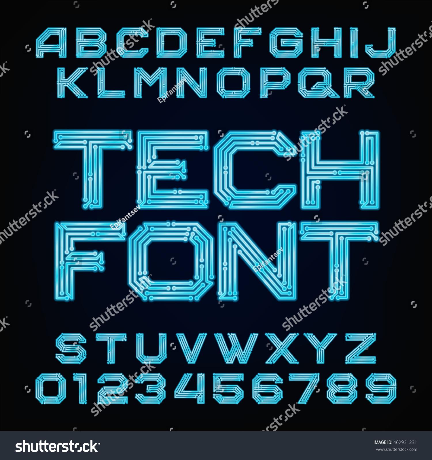 Tech Font. Vector Alphabet. Digital Hi… Stock Photo