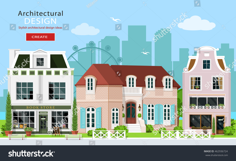 modern graphic architectural design cute european stock