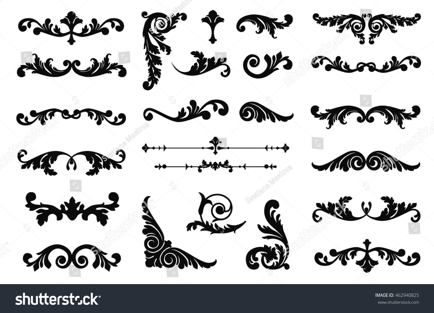 Ornate scroll and decorative design elements Vintage Vignette Borders Set Calligraphic Vector illustration isolated
