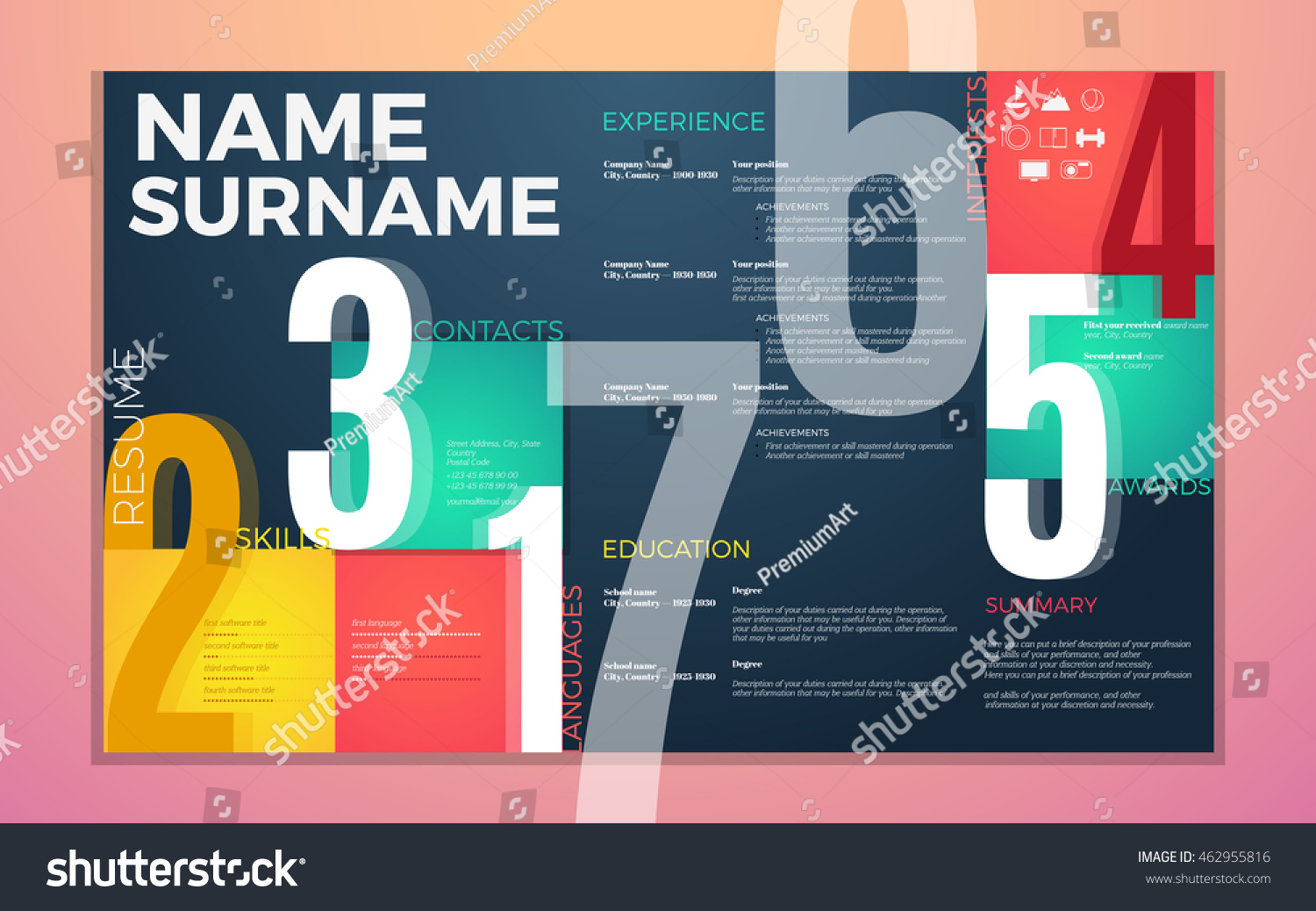 Modern Cv Resume Template Bright Contrast Stock Vector