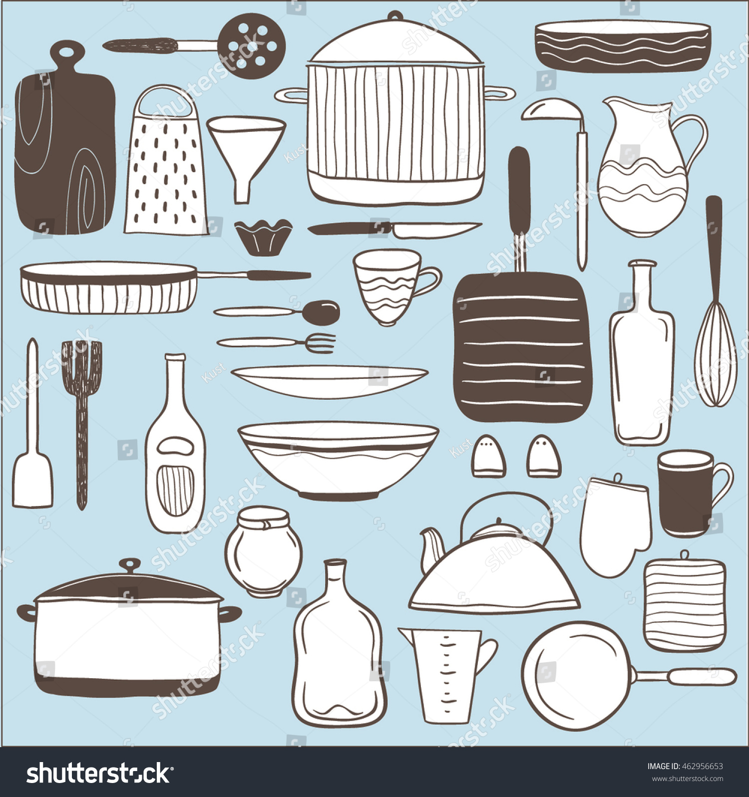 Vector Set Hand Drawn Icons Kitchen Stock Vector 462956653 ...