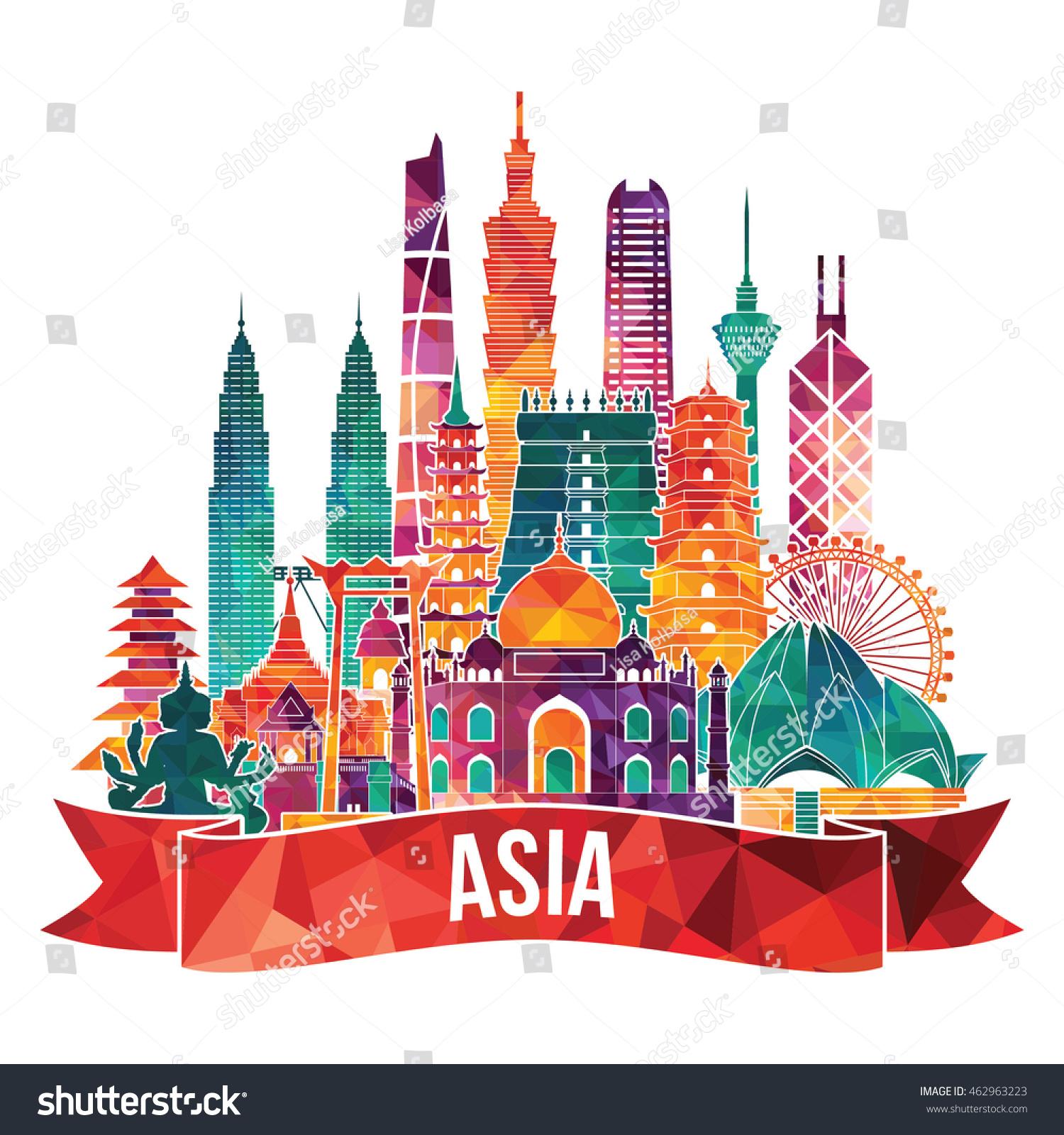 Asia Skyline Detailed Silhouette Travel Tourism Stock