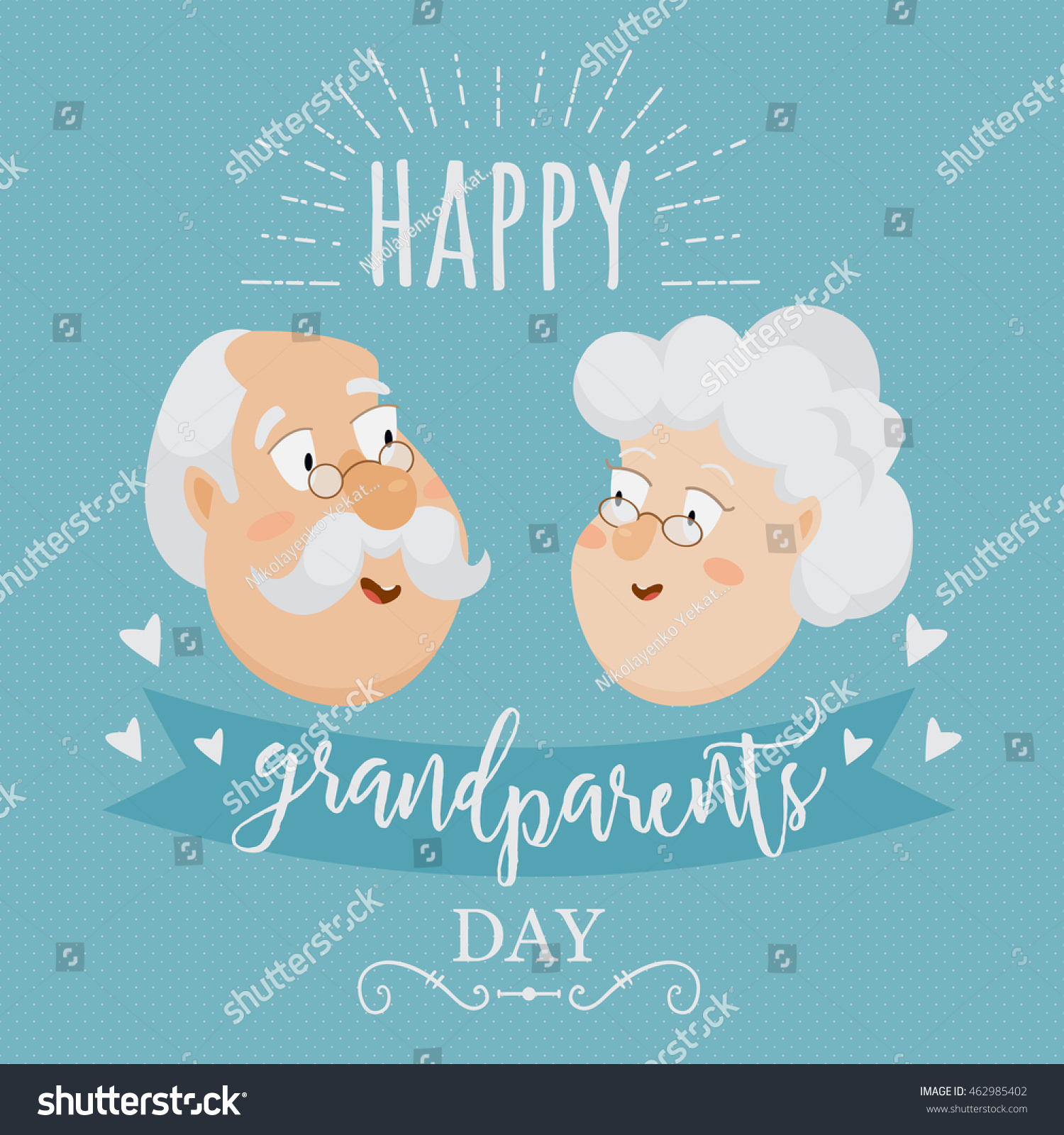 Happy Grandparents Day Poster Greeting Card Stock Vector Royalty