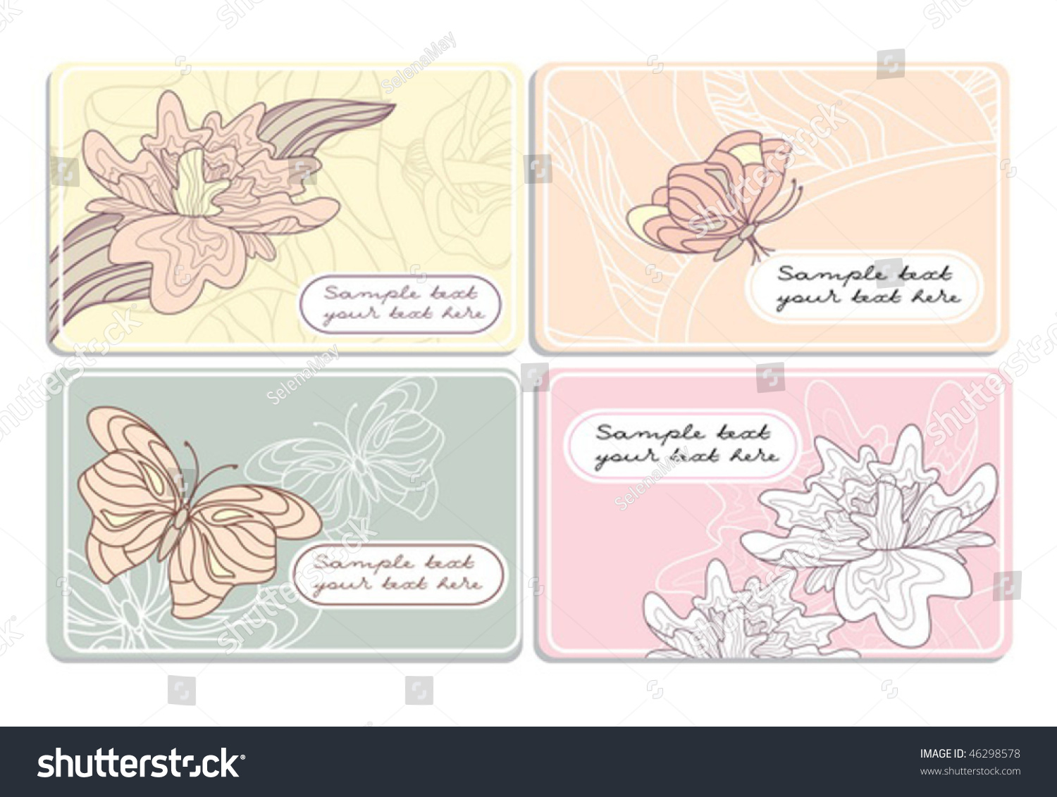 Set Cute Business Cards Stock Vector Illustration