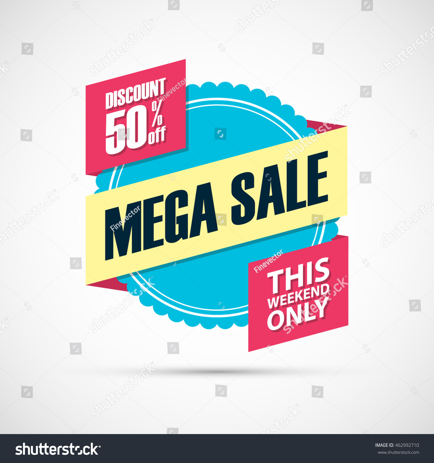 Weekend Discount: Mega Sale This Weekend Special Offer Stock Vector
