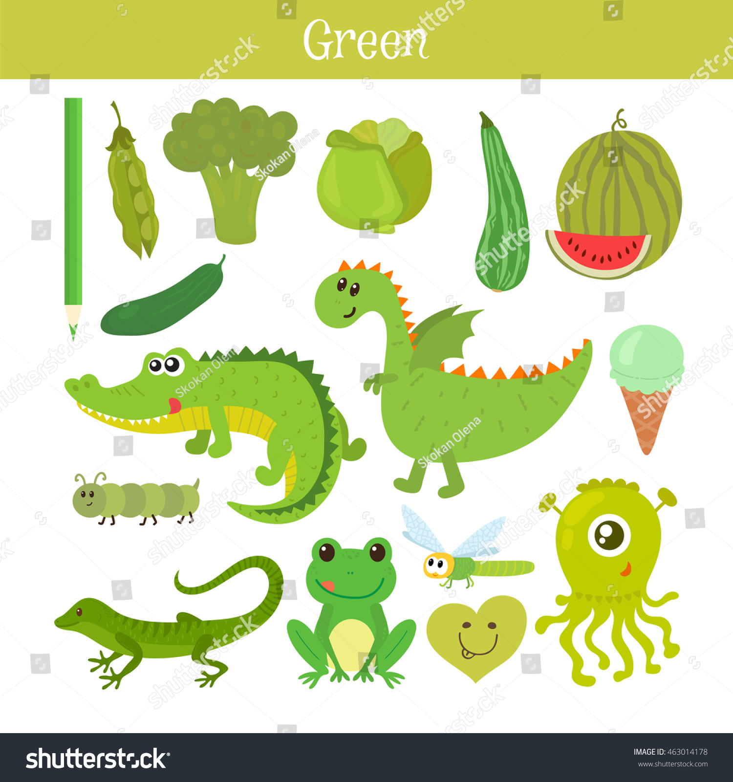 Green Learn Color Education Set Illustration Stock Vector HD ...