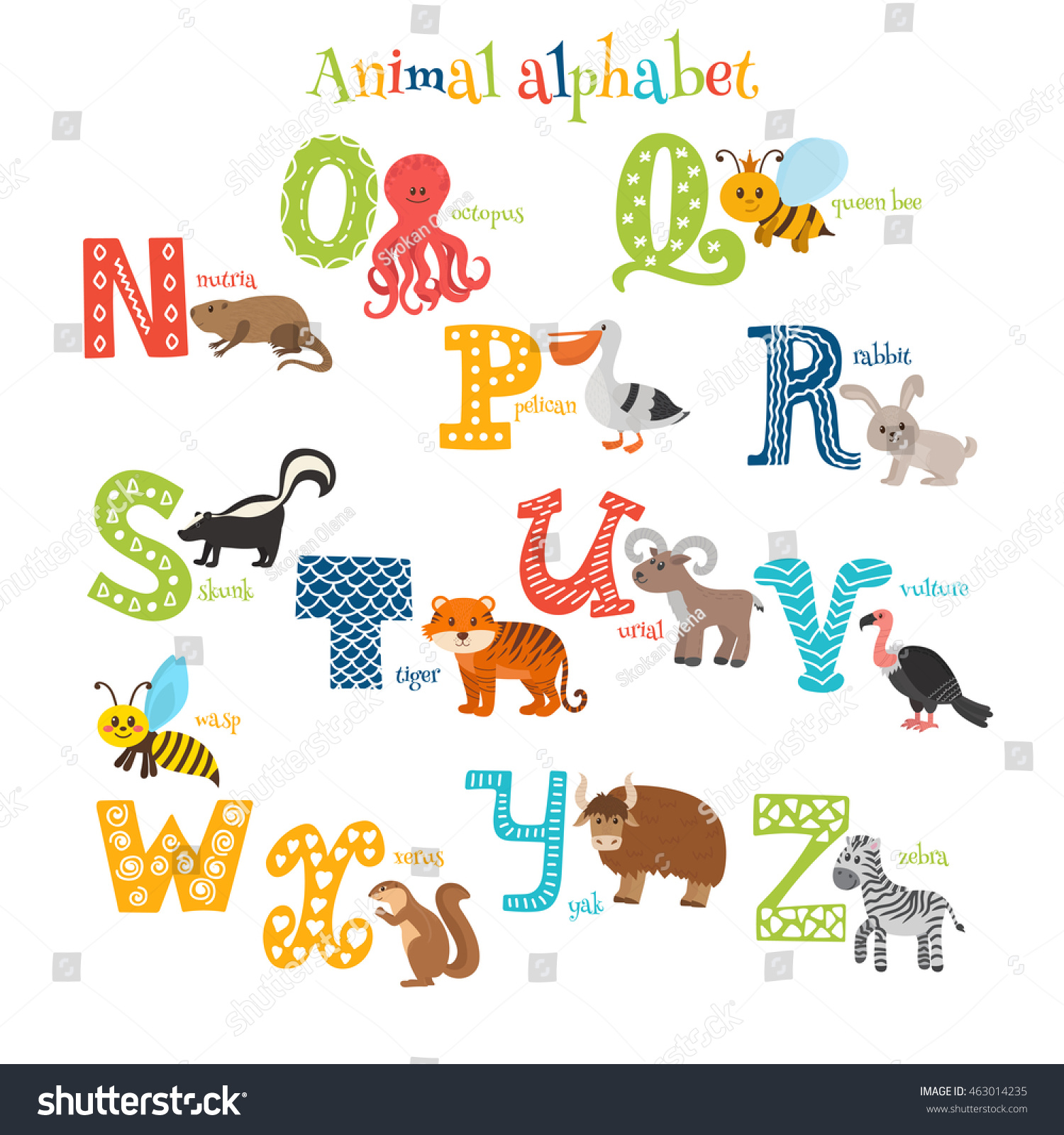 animal that starts with the letter n zoo animals alphabet n stock vector 463014235 20451 | stock vector zoo cute cartoon animals alphabet from n to z in cartoon style vector illustration 463014235