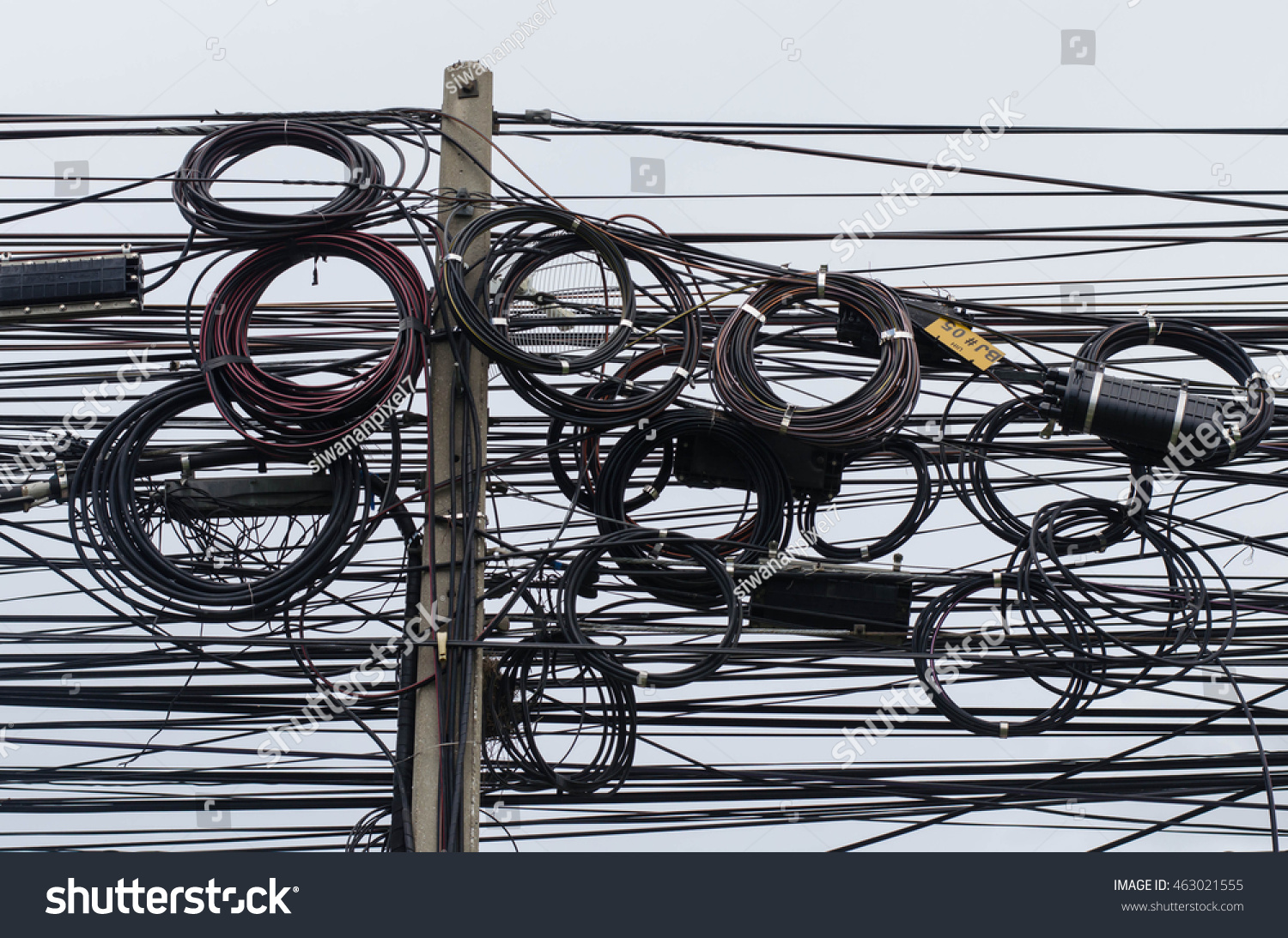 Rangsit Pathumthani Thailand July 162016 Cable Electric Stock Photo Telephone Connection Wiring In Pathumthanithailand Wire
