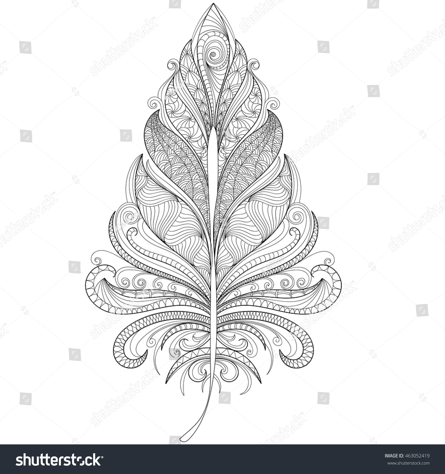 hand drawn bird feather coloring stock vector 463052419