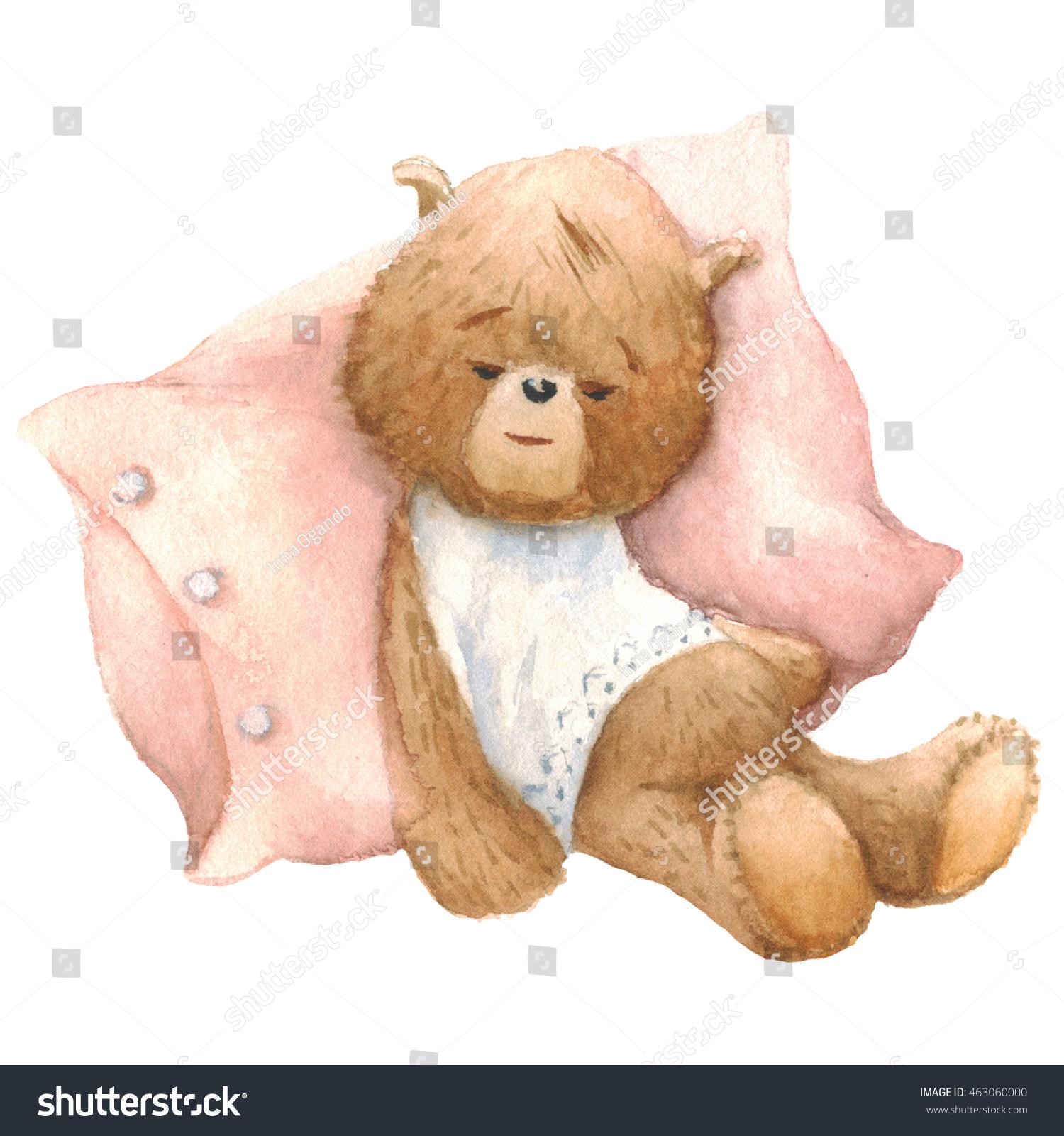 cute teddy bear sleeping pillow watercolor stock illustration