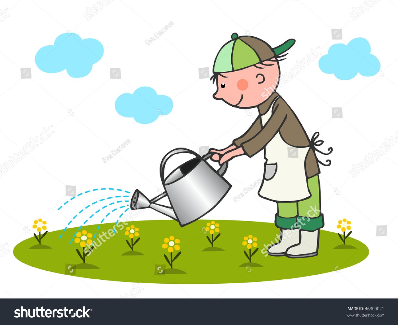little gardener vector stock vector 46309021 shutterstock Outdoor Scene Clip Art Playground Clip Art