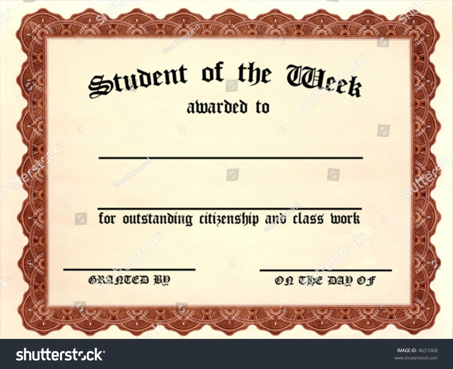 Customizable Student Week Certificate Stock Vector Royalty Free