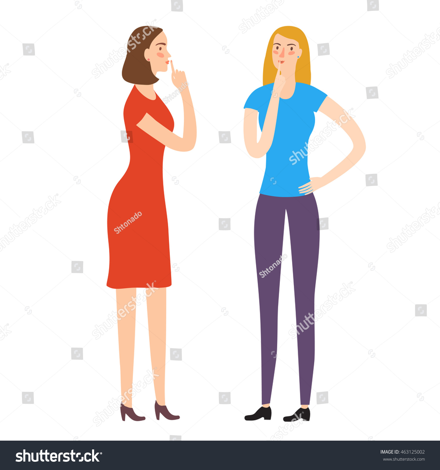 Cartoon girls friends keeping secrets and holding finger on the lips Characters illustrations for your design
