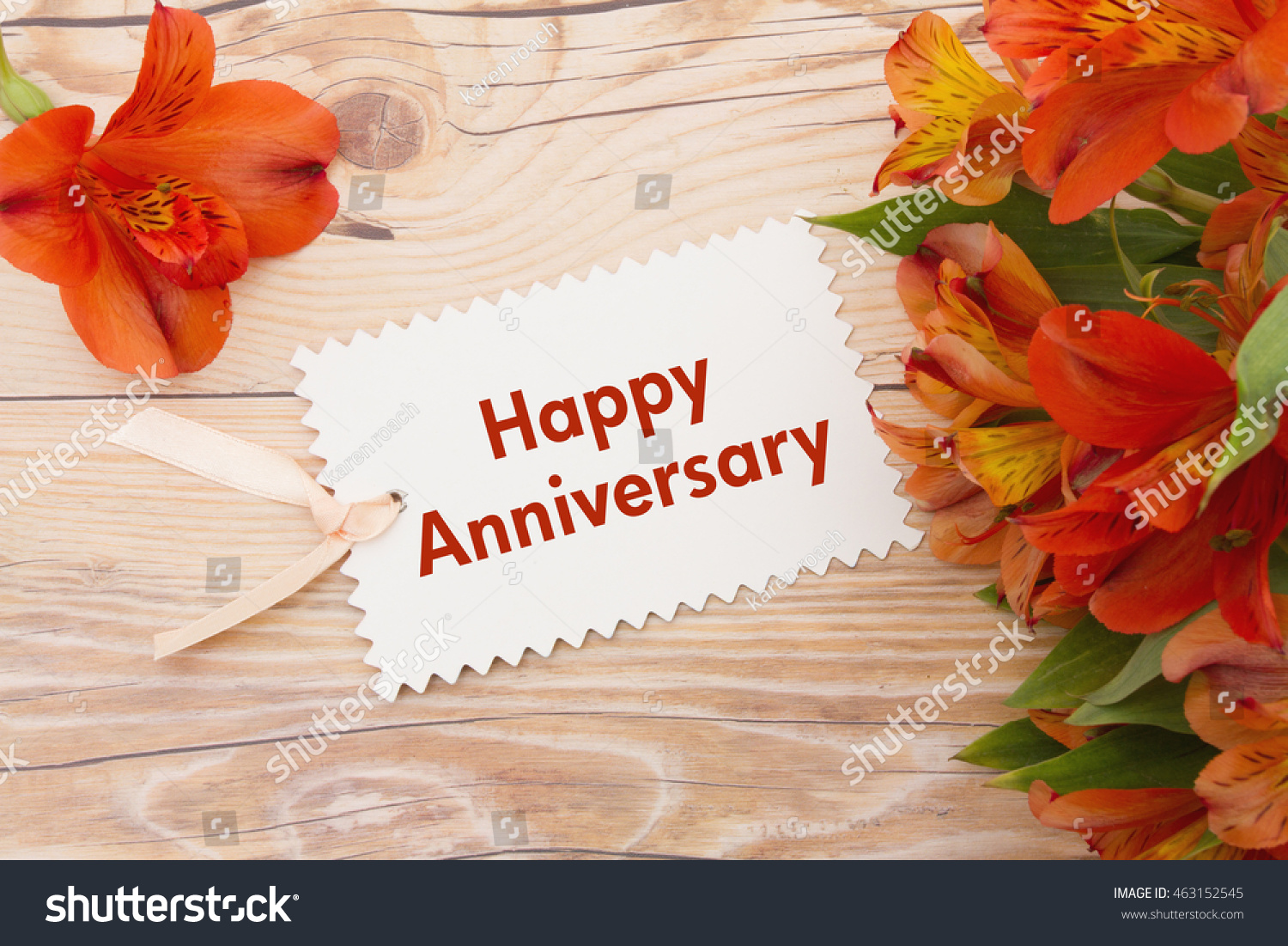 Happy Anniversary Greeting Some Lilies On Stock Photo Edit Now