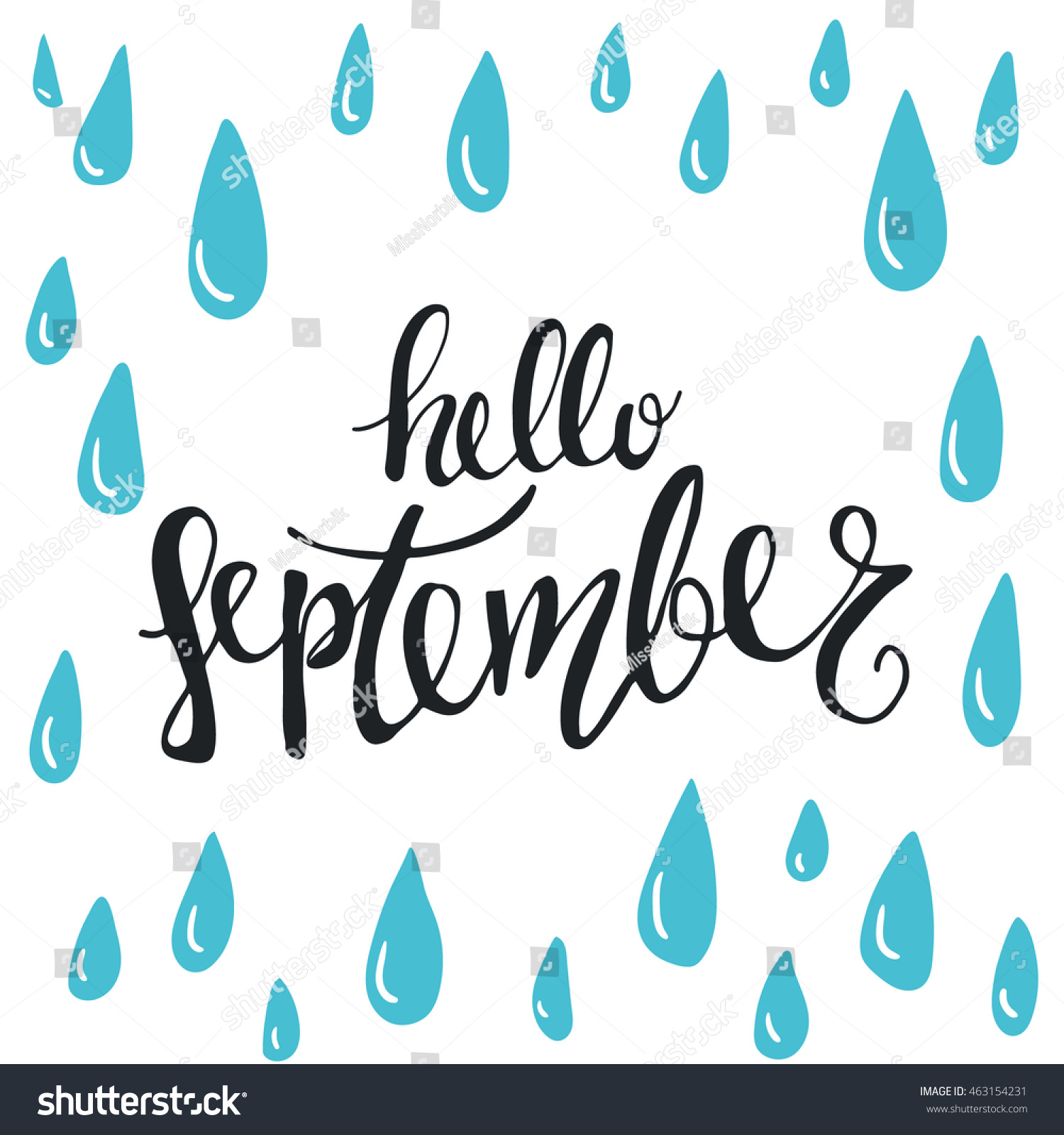 Wonderful Vector Hand Drawn Phrase   Hello September. Cute Greeting Card With Rain  Drops And Handwritten