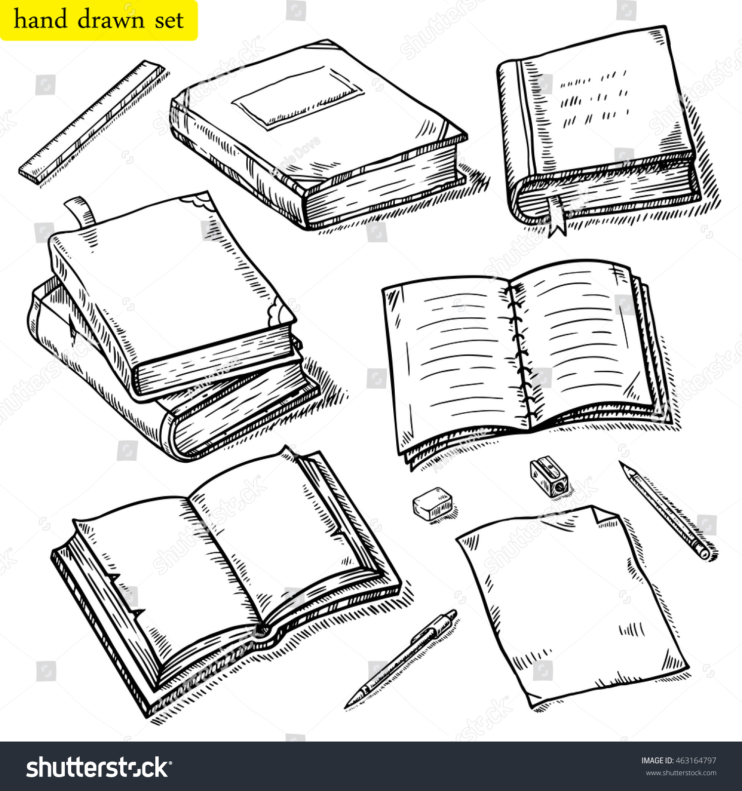 Vector linear illustration of the books set Hand drawn sketch of the notebook pen pencil eraser etc Opened closed books isolated on white background