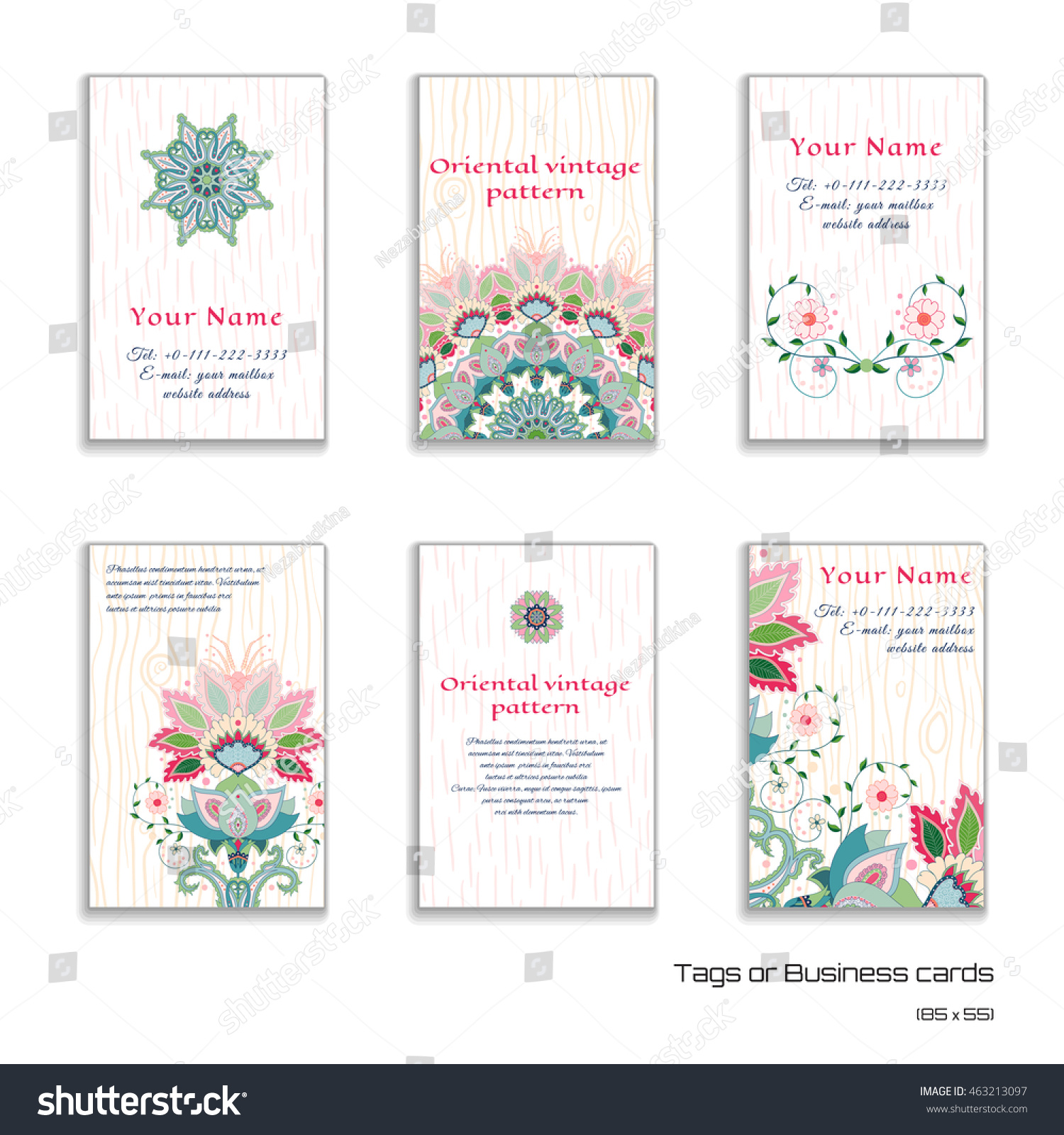 set six vertical business cards indian stock vector