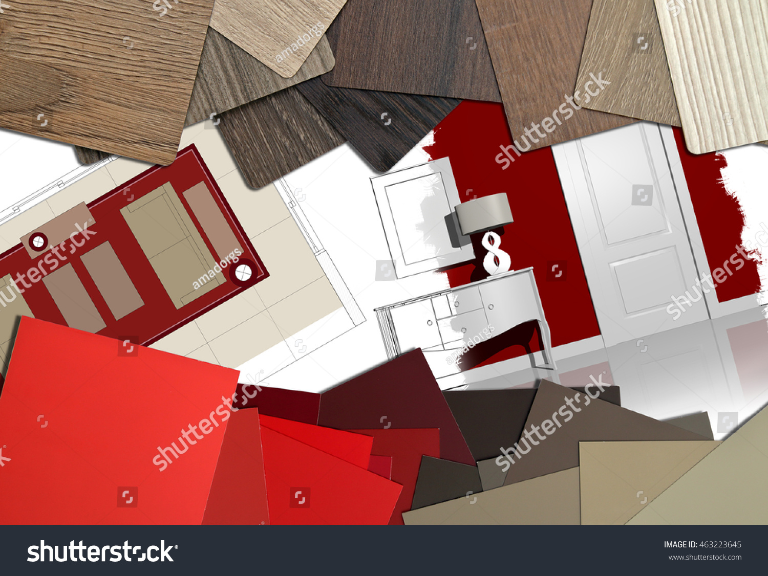 interior design worktable illustrations materials stock photo