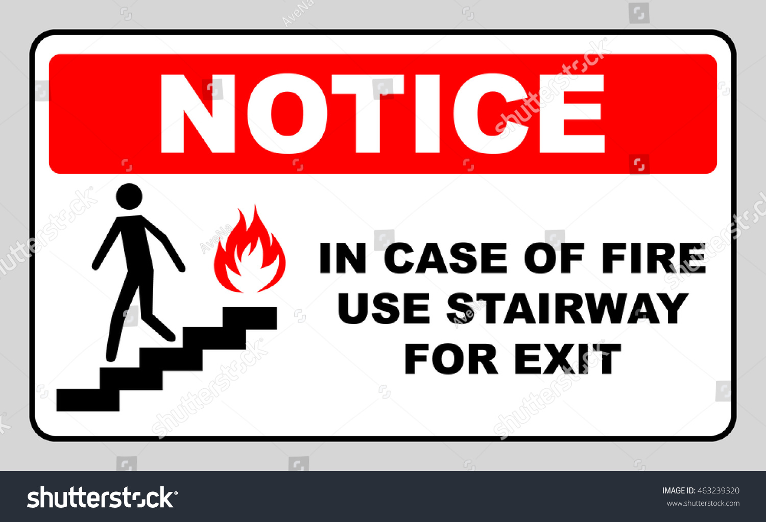 Case fire use stairway exit sign stock vector 463239320 shutterstock in case of fire use stairway for exit sign vector symbol buycottarizona Images