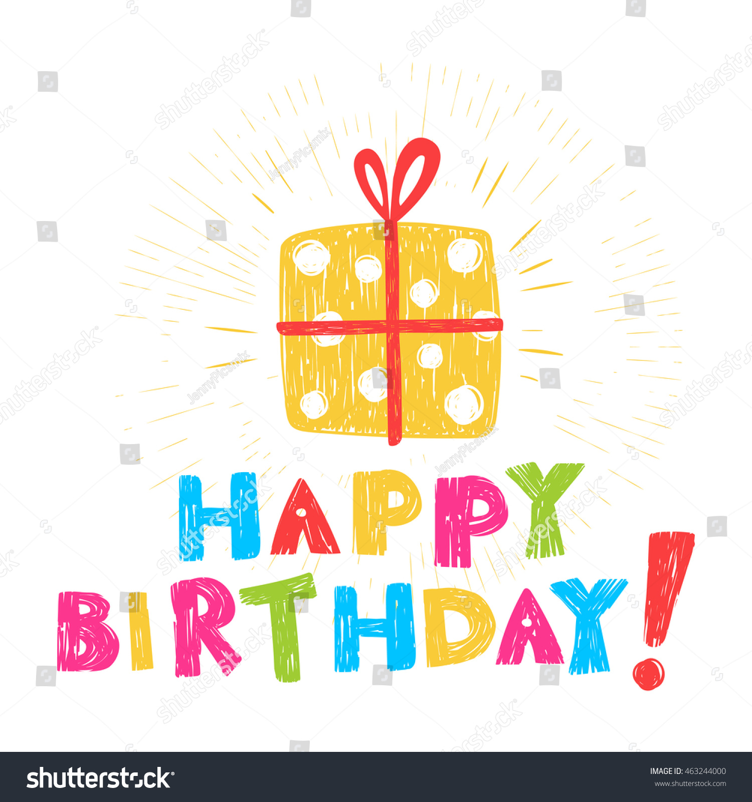 Birthday Card With Inscription Happy And Illustration Of Gift Stylized As Children Pencil Drawing