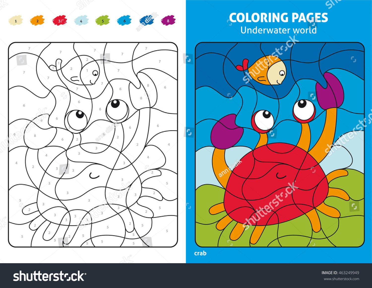 Underwater World Coloring Page Kids Fish Stock Vector (Royalty Free ...