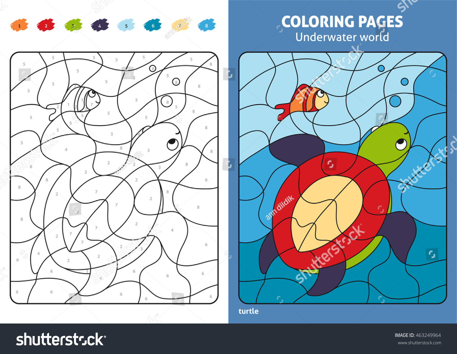 Underwater World Coloring Page Kids Turtle Stock Vector
