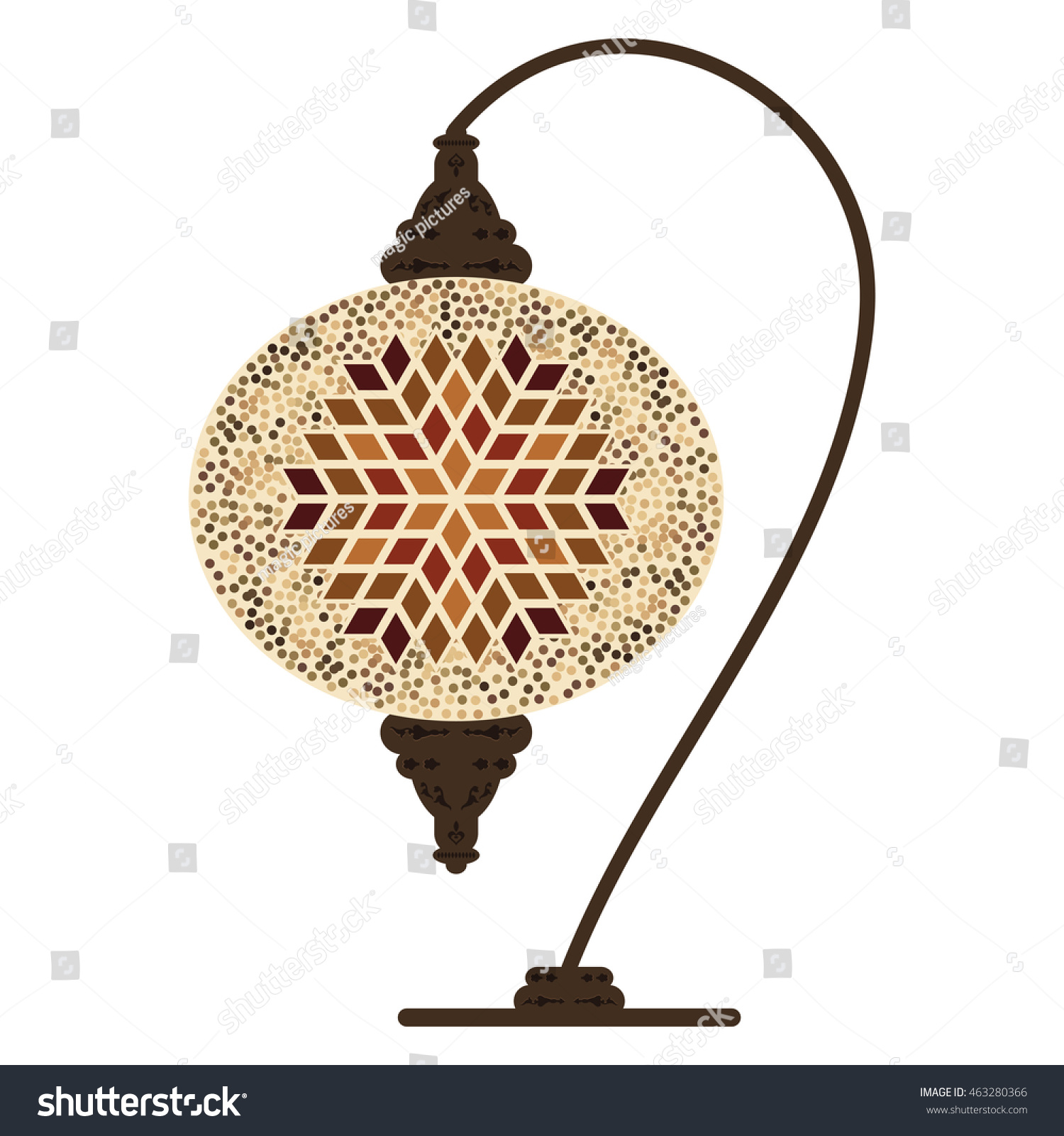 Vector illustration traditional turkish table lamp stock vector vector illustration of traditional turkish table lamp with beige ornamental design geotapseo Gallery