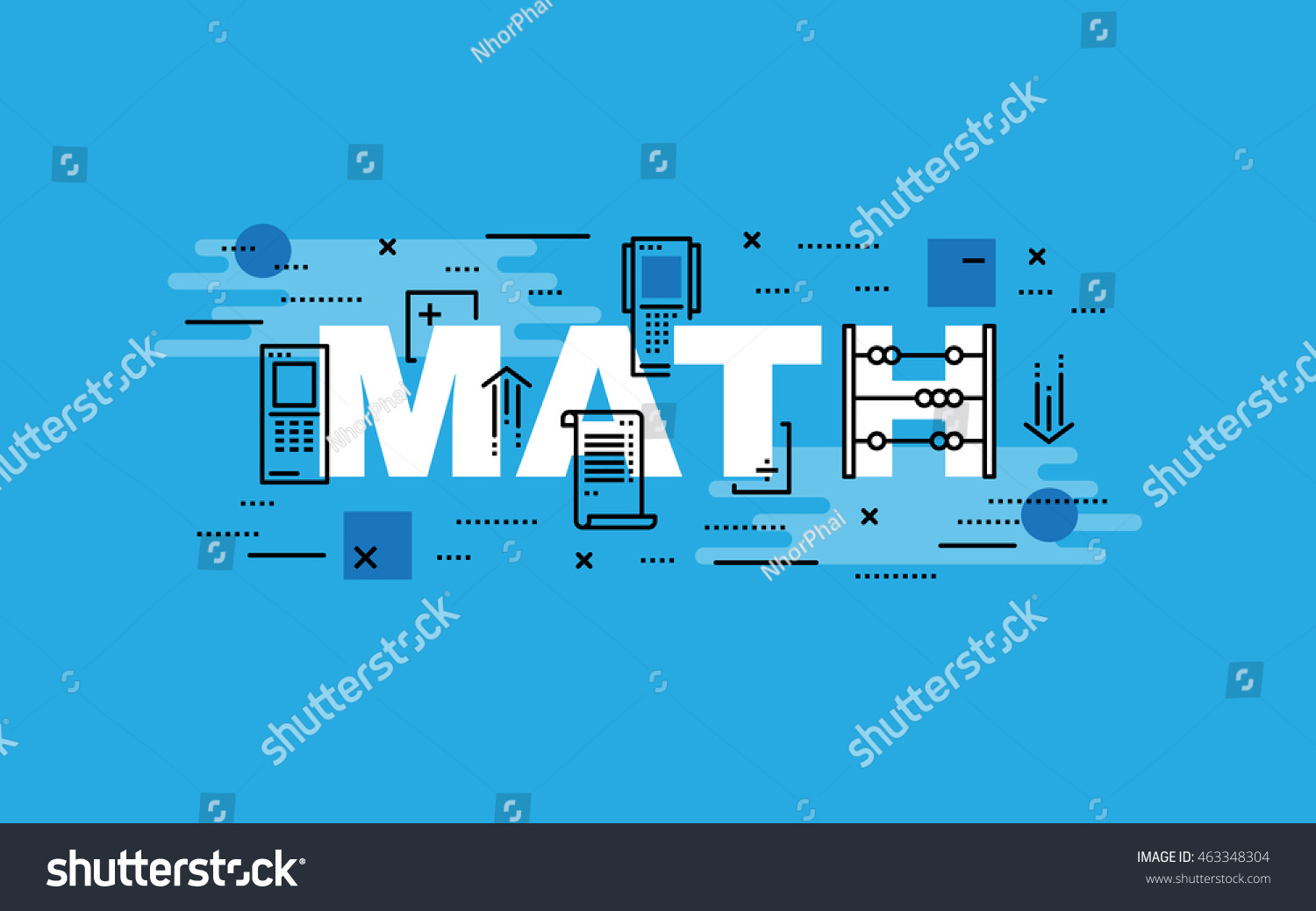 Lettering Flat Line Design Concepts Math Thin Stock Vector (Royalty ...