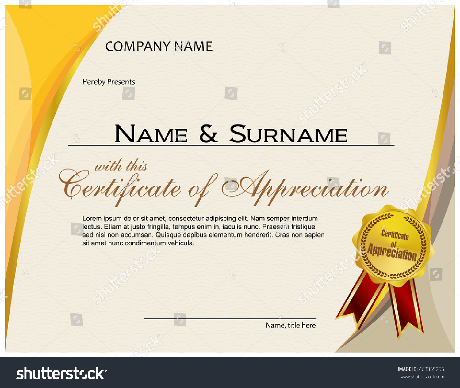 Certificate appreciation medal ribbon stock vector 463355255 certificate of appreciation with medal and ribbon yadclub Images