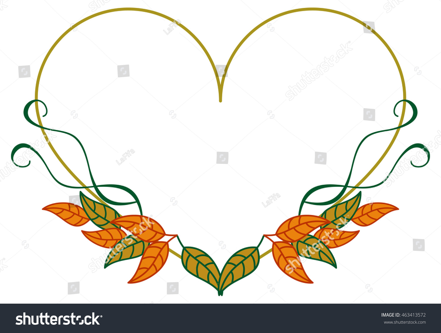 Heart Shaped Frame Color Decorative Leaves Stock Vector ...