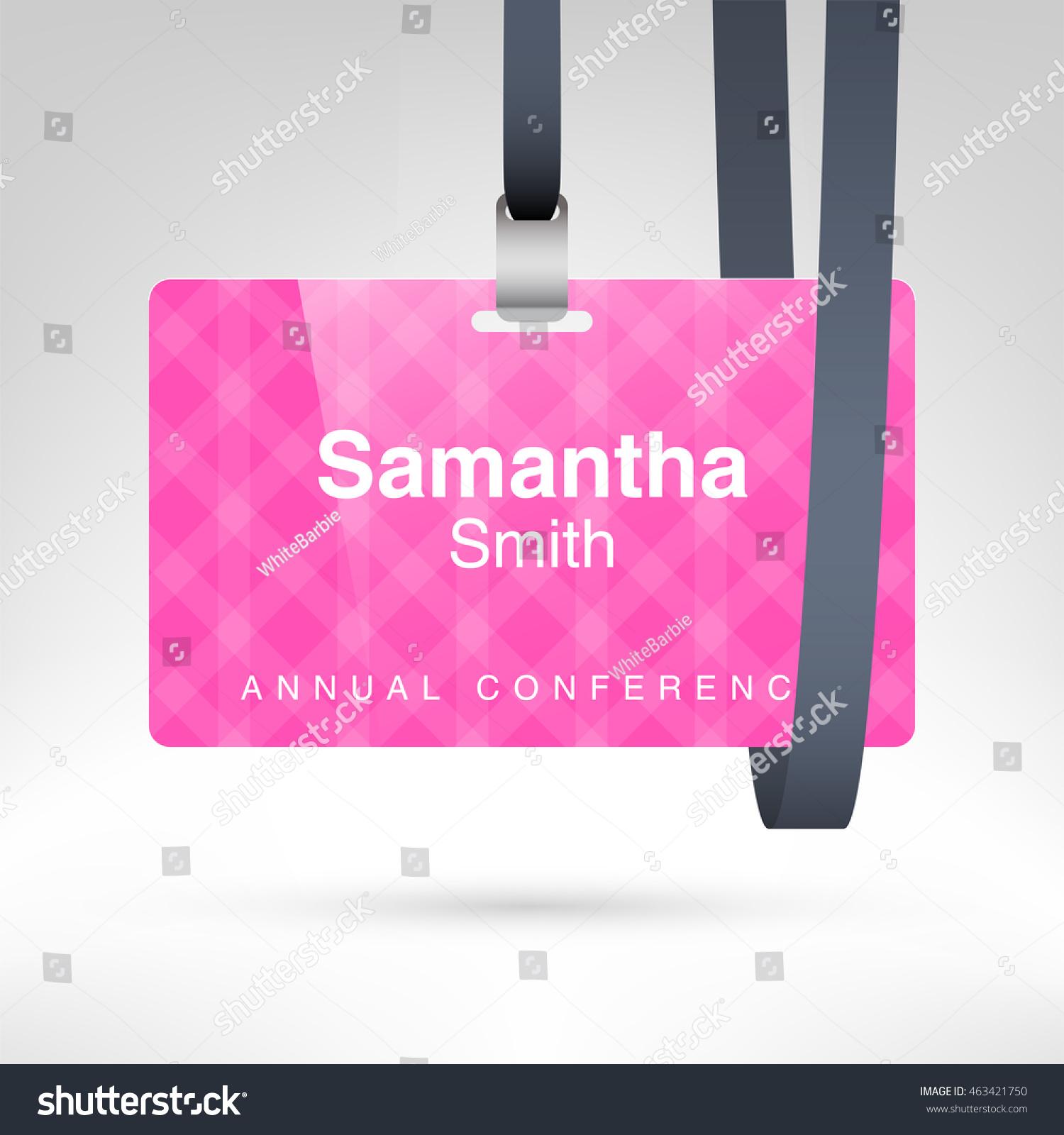 pink conference badge name tag placeholder stock vector 463421750 shutterstock. Black Bedroom Furniture Sets. Home Design Ideas