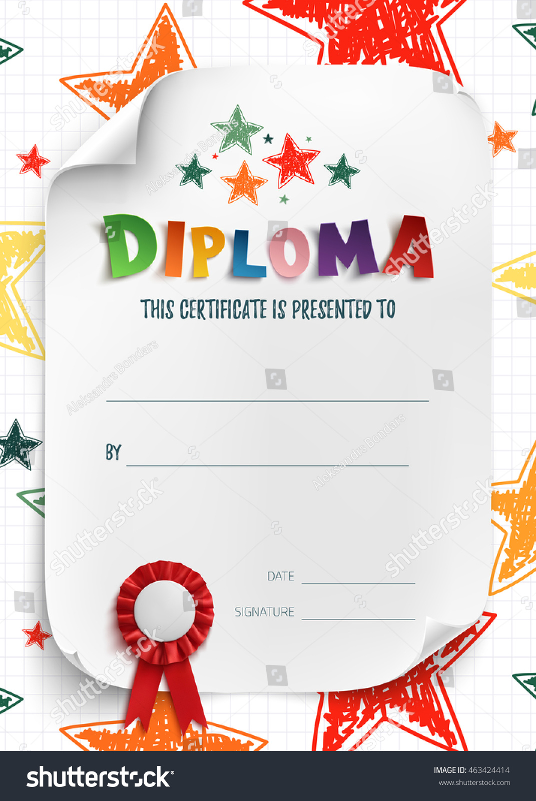 Diploma Template Kids Certificate Background Hand Stock Illustration