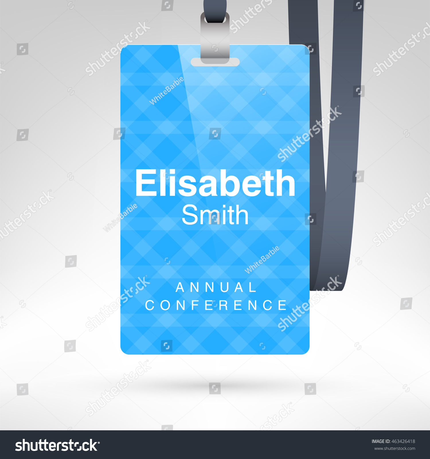Blue Conference Badge Name Tag Placeholder Stock Vector - Conference badge design template
