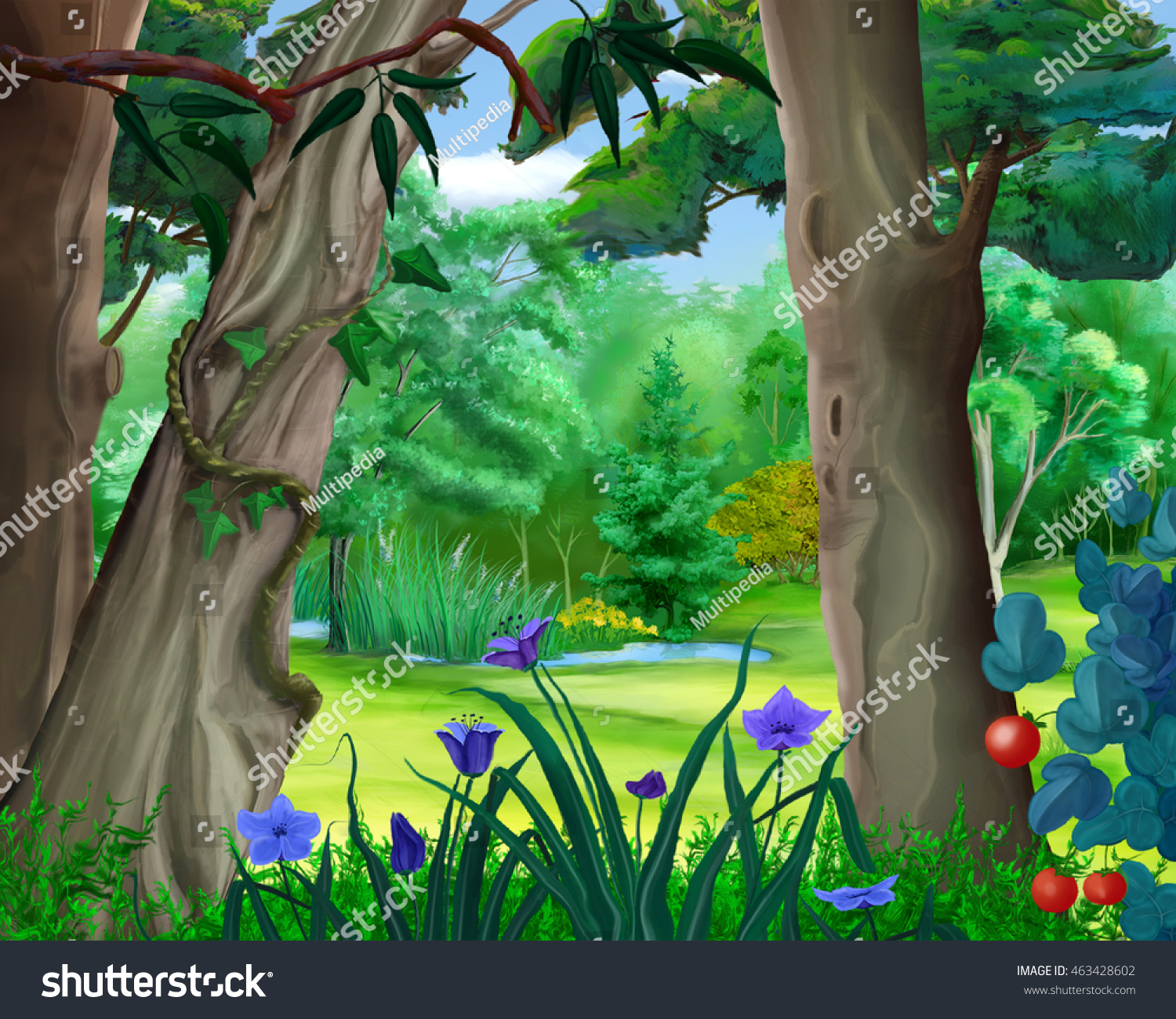 Small pond forest summer day cartoon stock illustration for Fairytale inspired home decor