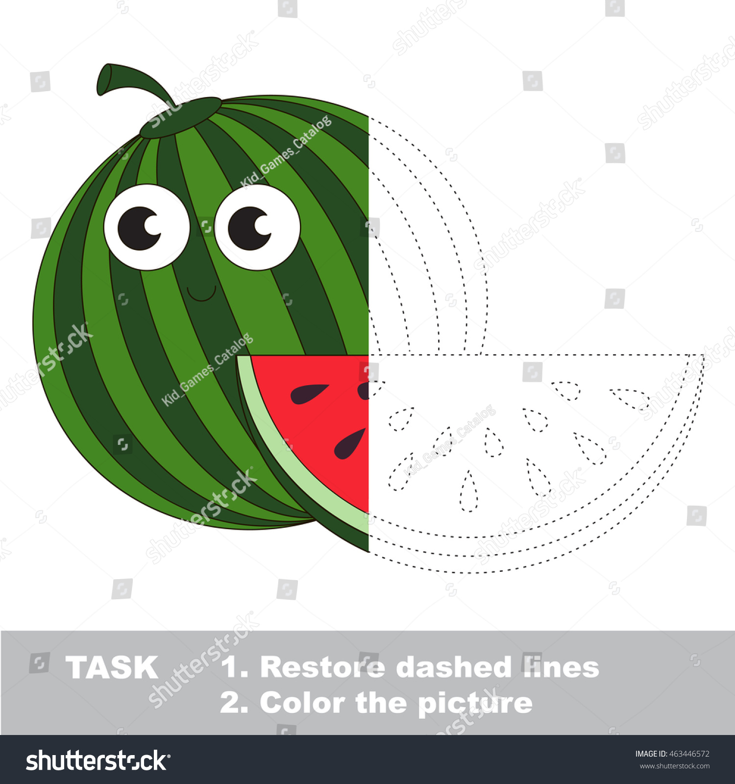 Watermelon Vector Be Traced Restore Dashed Stock Vector 463446572 ...