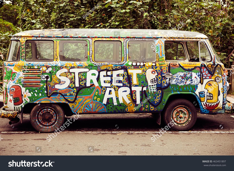 Bali november 1 graffiti on the bus at bali island indonesia on 1