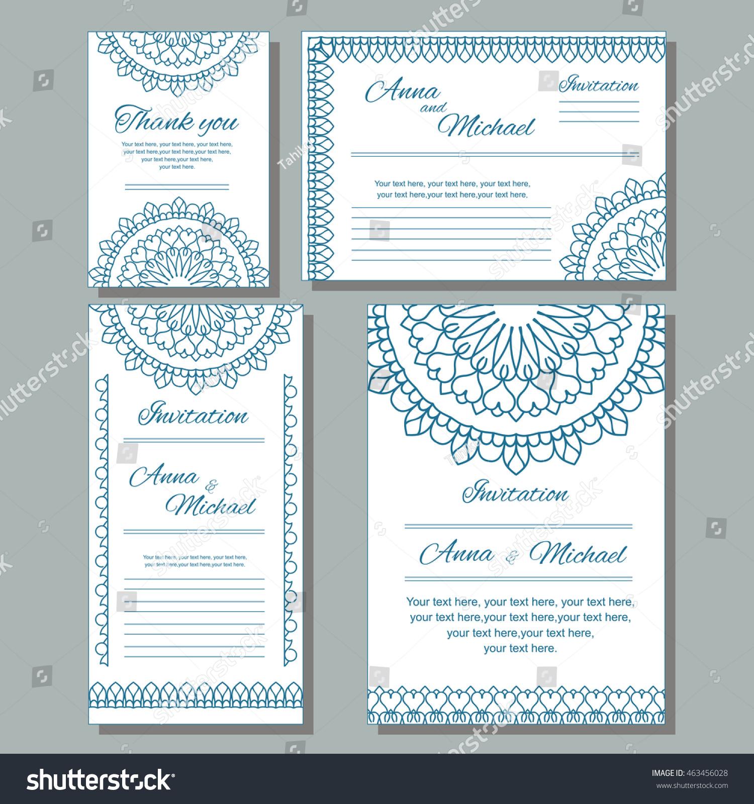 Set Wedding Invitations Postcards Different Sizes Stock Vector ...