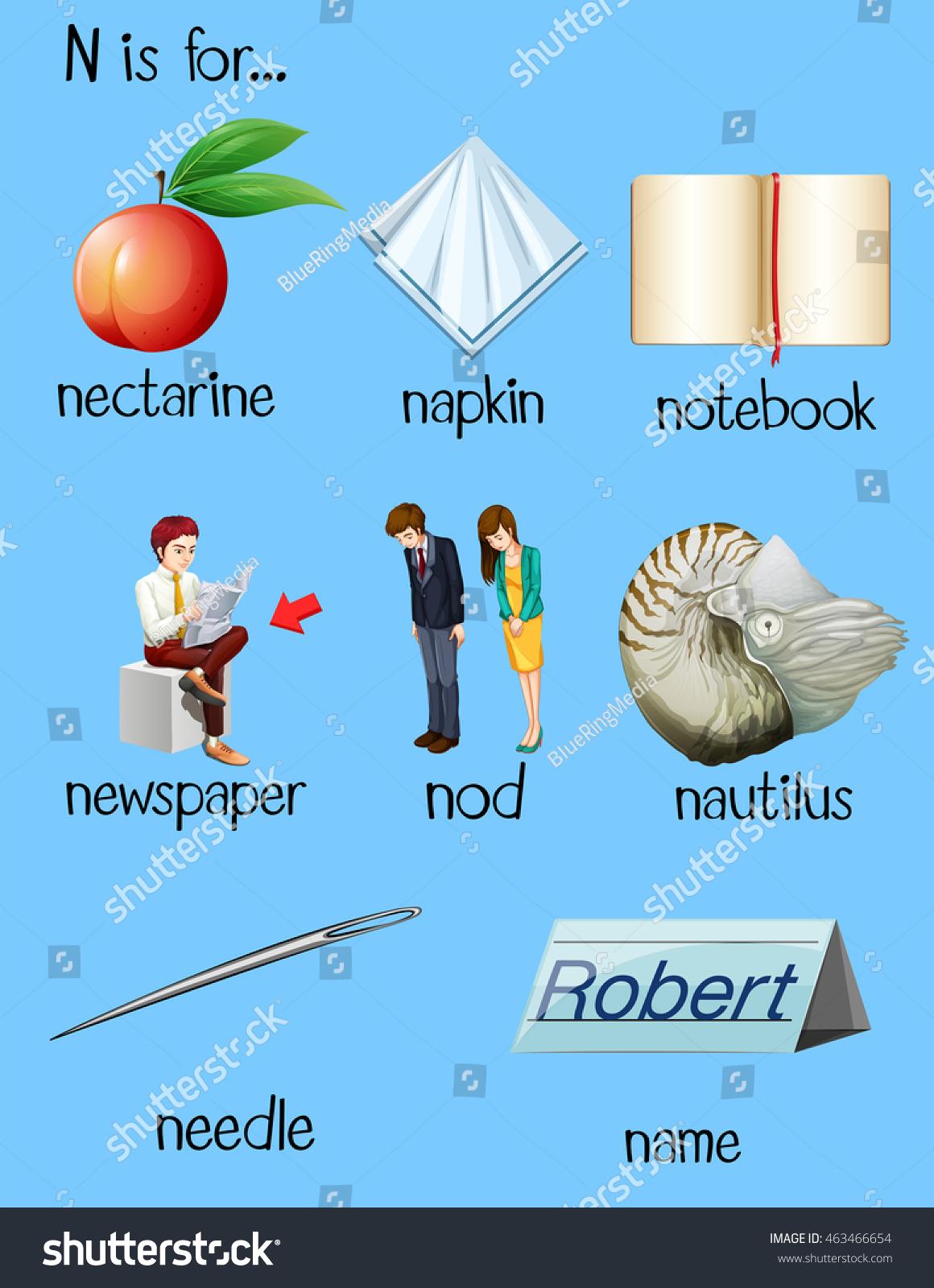 Many Words Begin Letter N Illustration Stock Vector