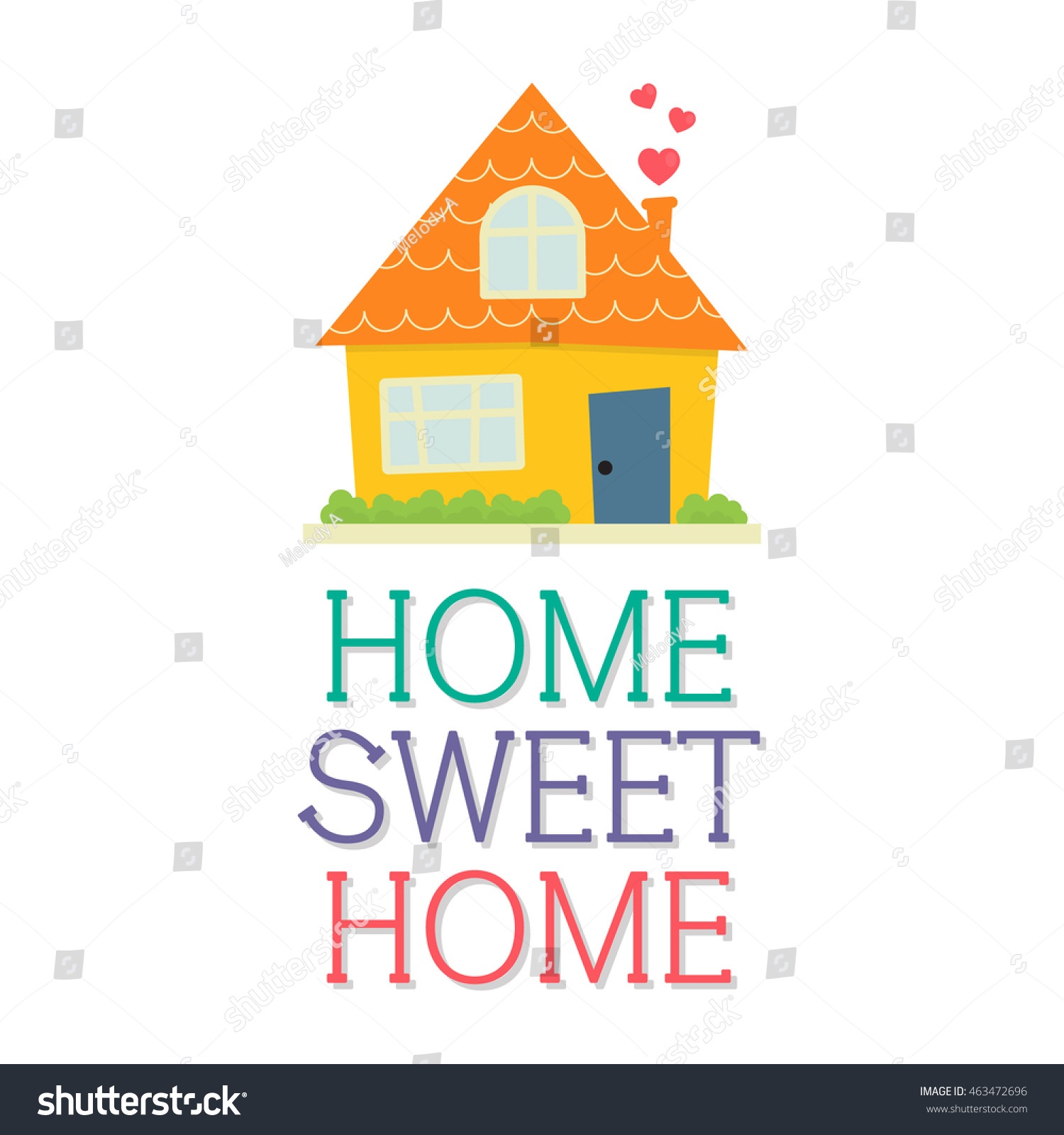 Home sweet home cute design stock vector 463472696 shutterstock - Home sweet home designs ...