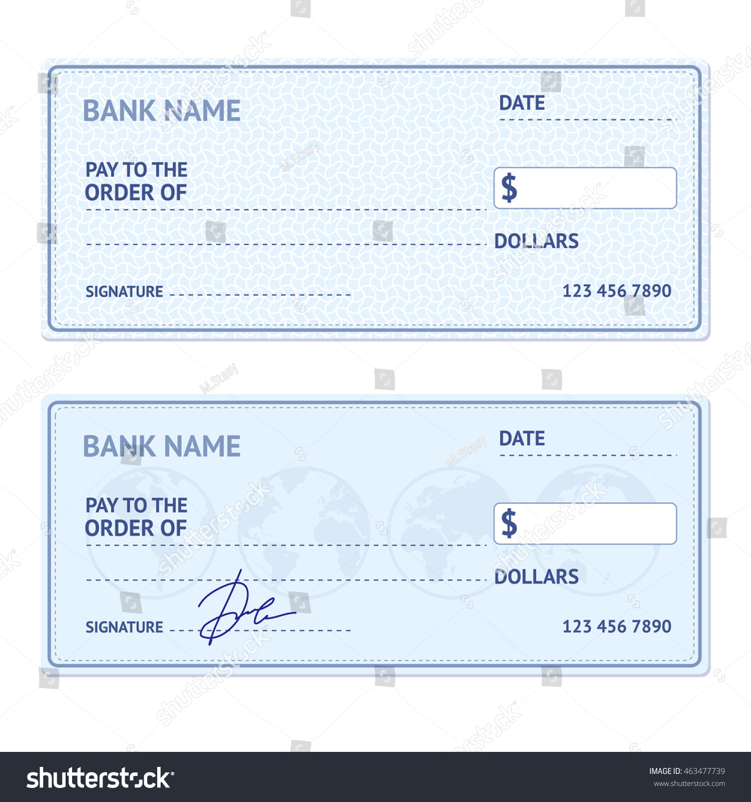 Bank check template set modern design stock illustration 463477739 bank check template set with modern design isolated on white background illustration pronofoot35fo Image collections