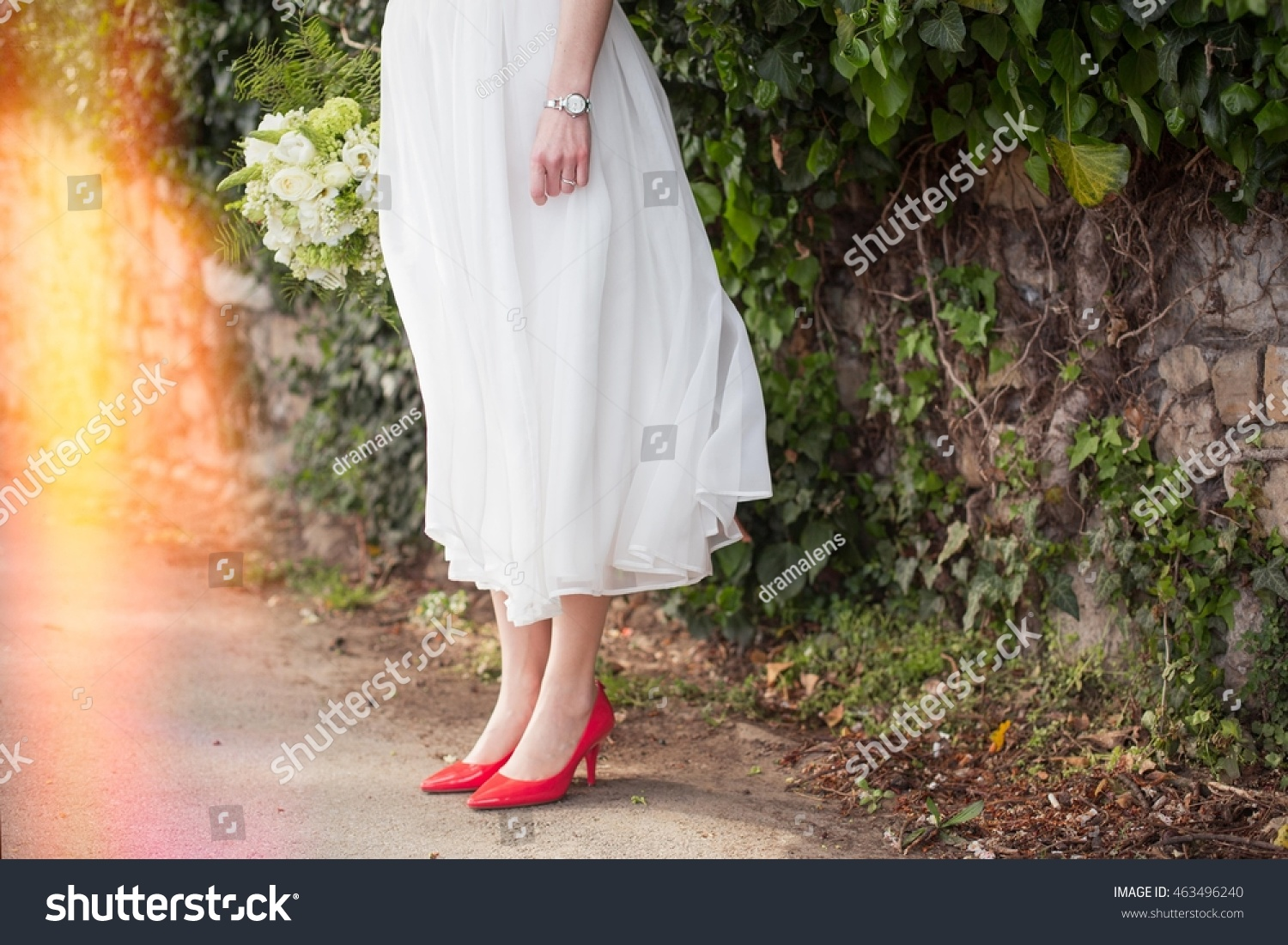 View Brides Feet Wearing Red Shoes