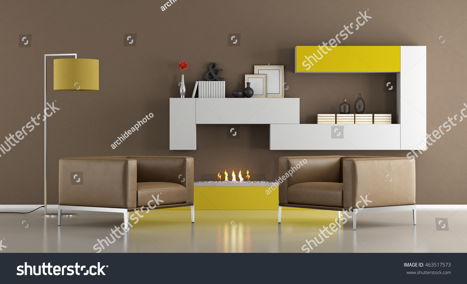 modern living room armchairs ecological fireplace stock