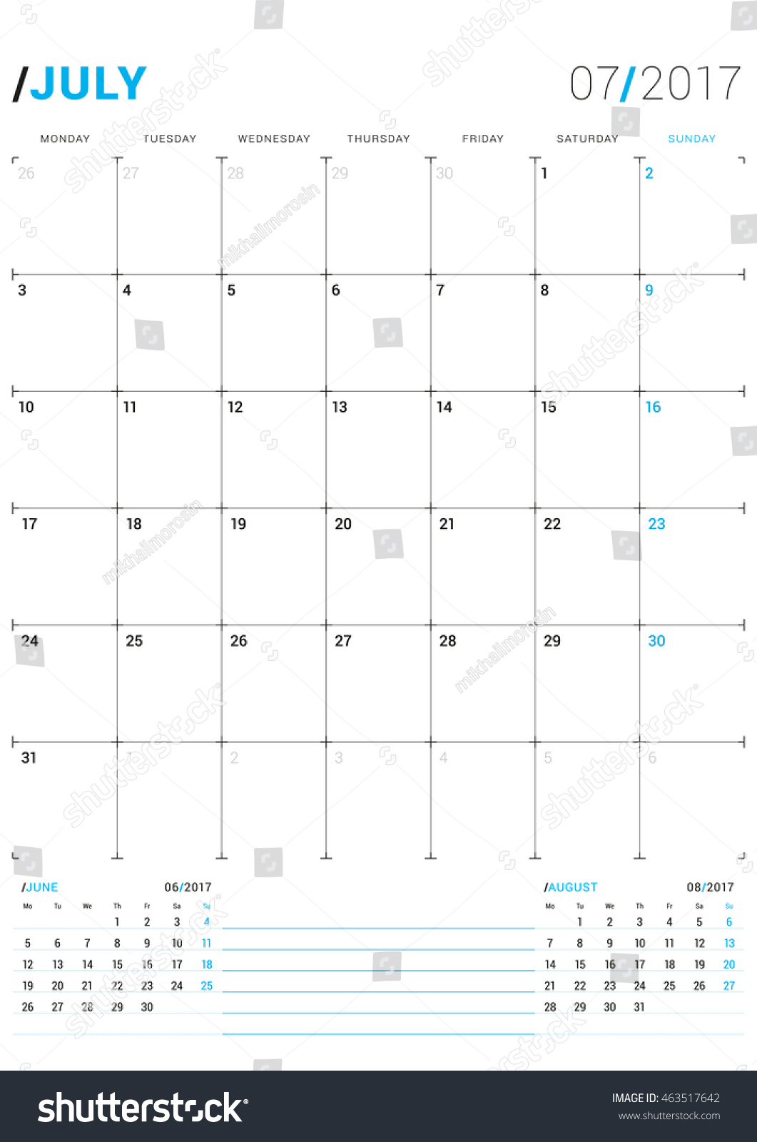 Weekly Calendar Vector : July vector print template monthly stock