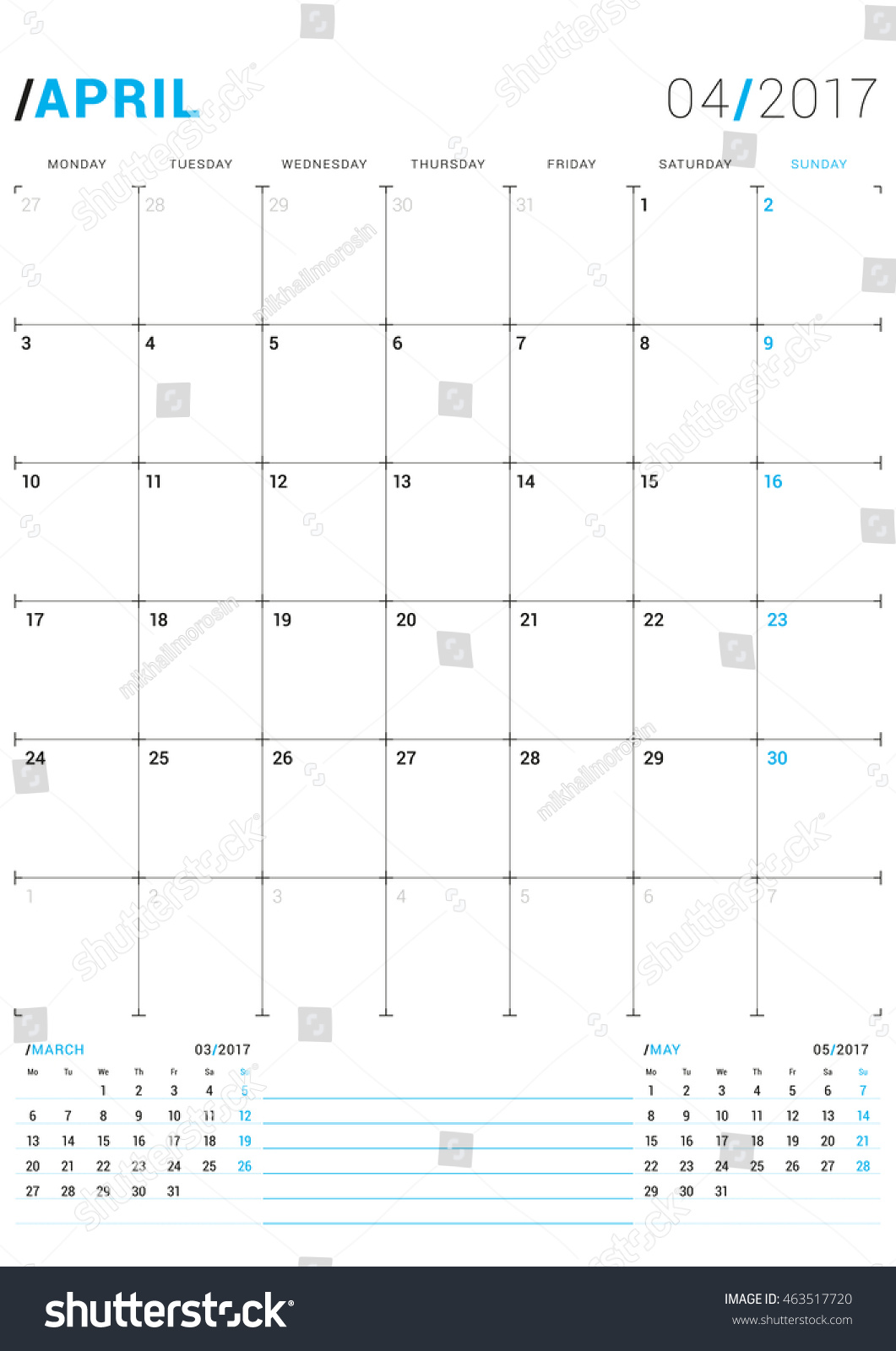 Calendar April Vector : April vector print template monthly stock