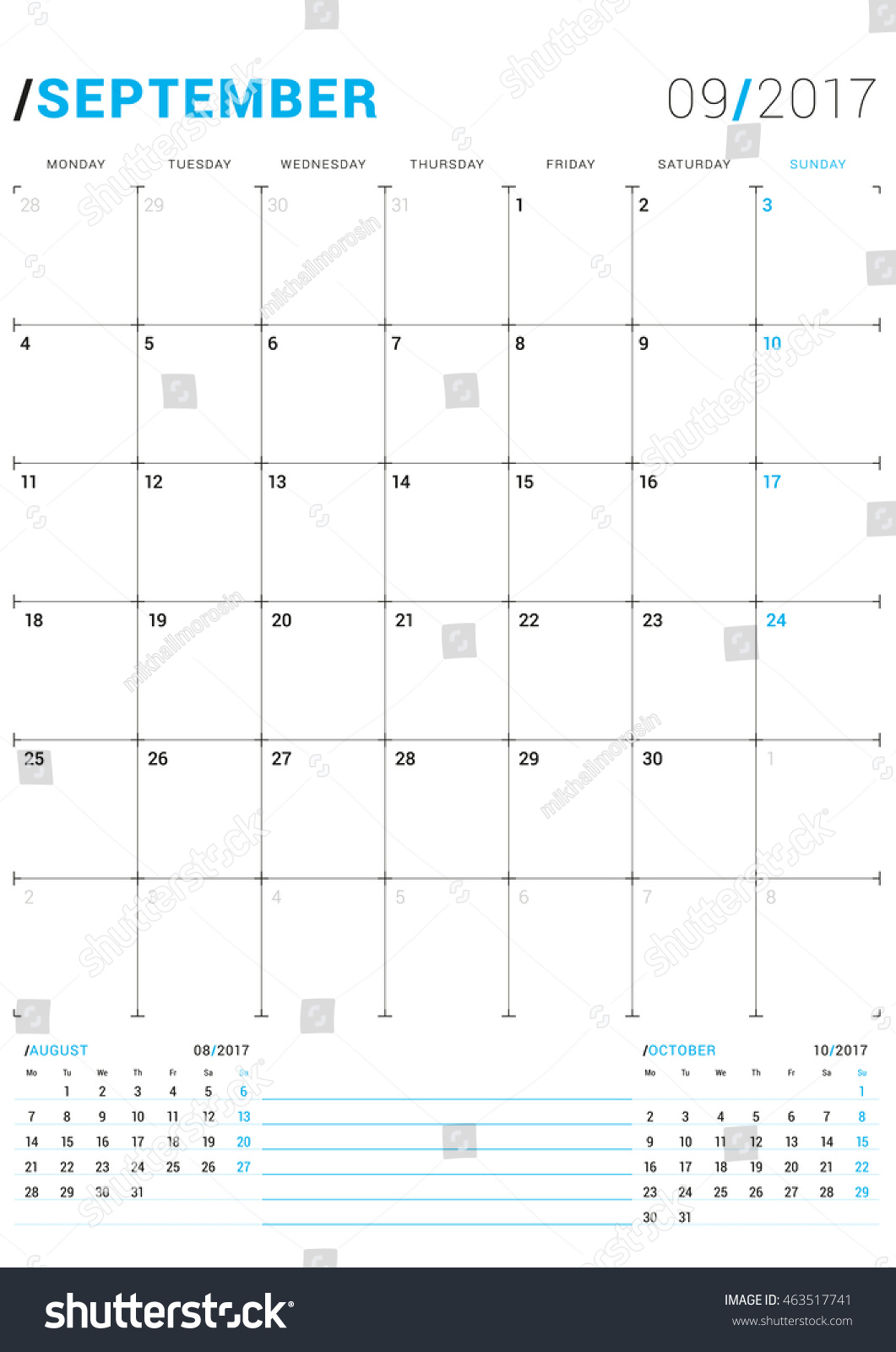 monthly calender planner